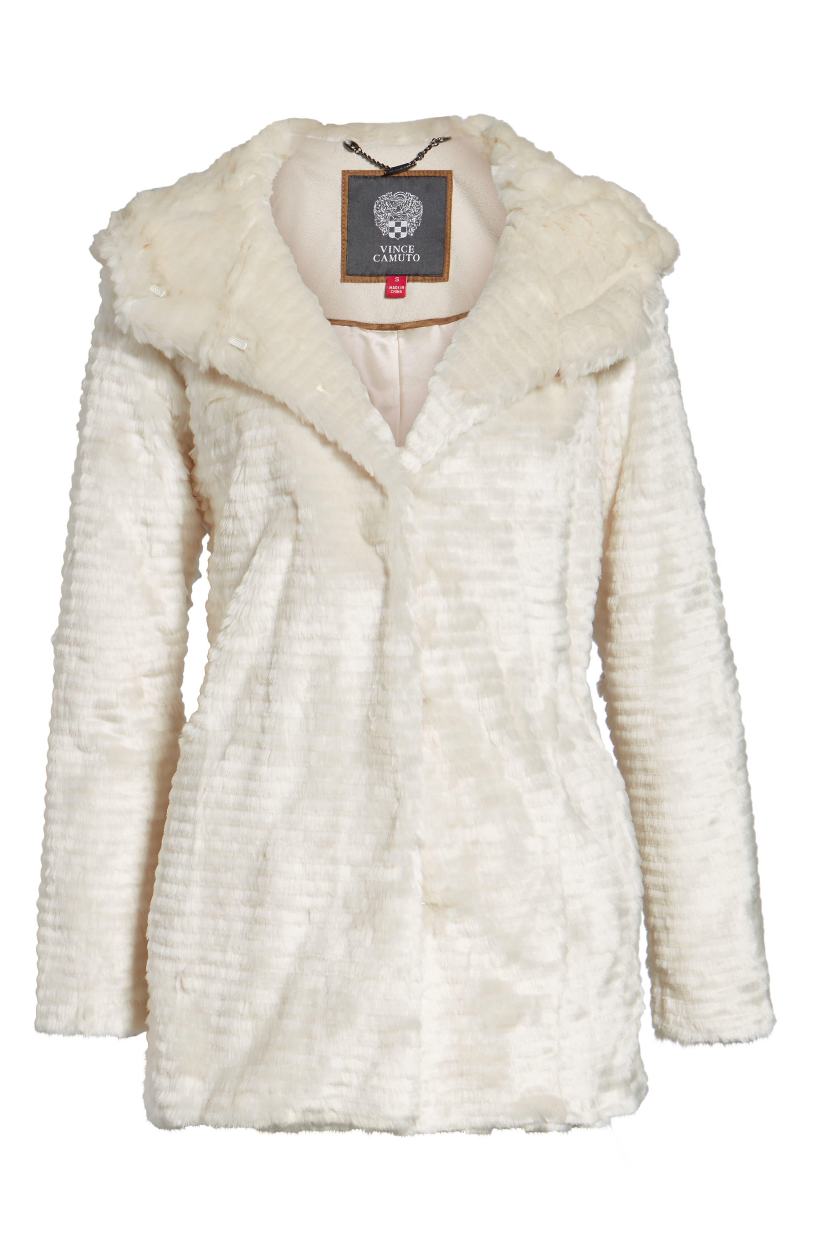 VINCE CAMUTO,                             Hooded Faux Fur Coat,                             Alternate thumbnail 5, color,                             100