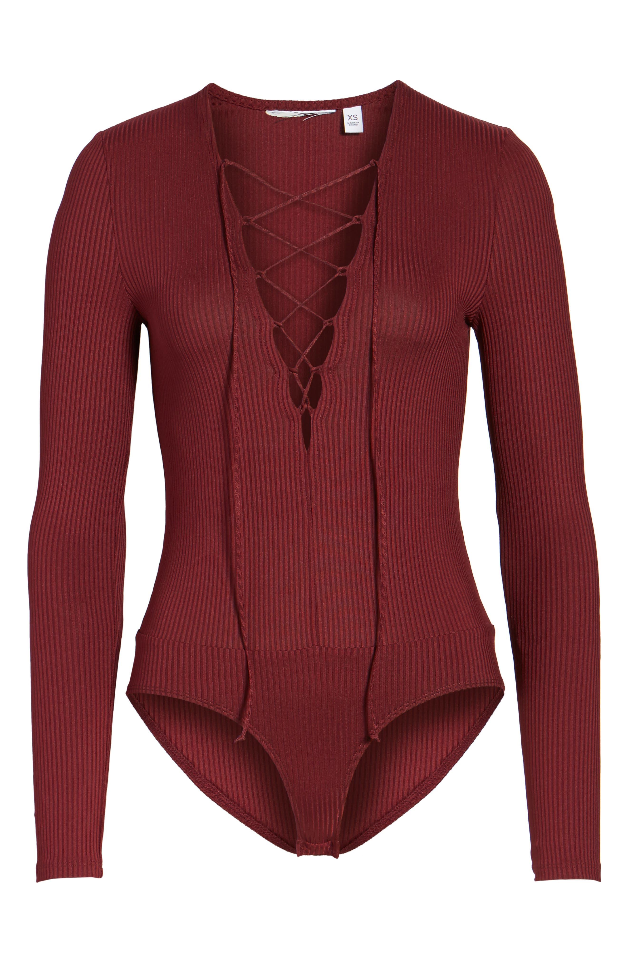 Lace-Up Bodysuit,                             Alternate thumbnail 6, color,                             930