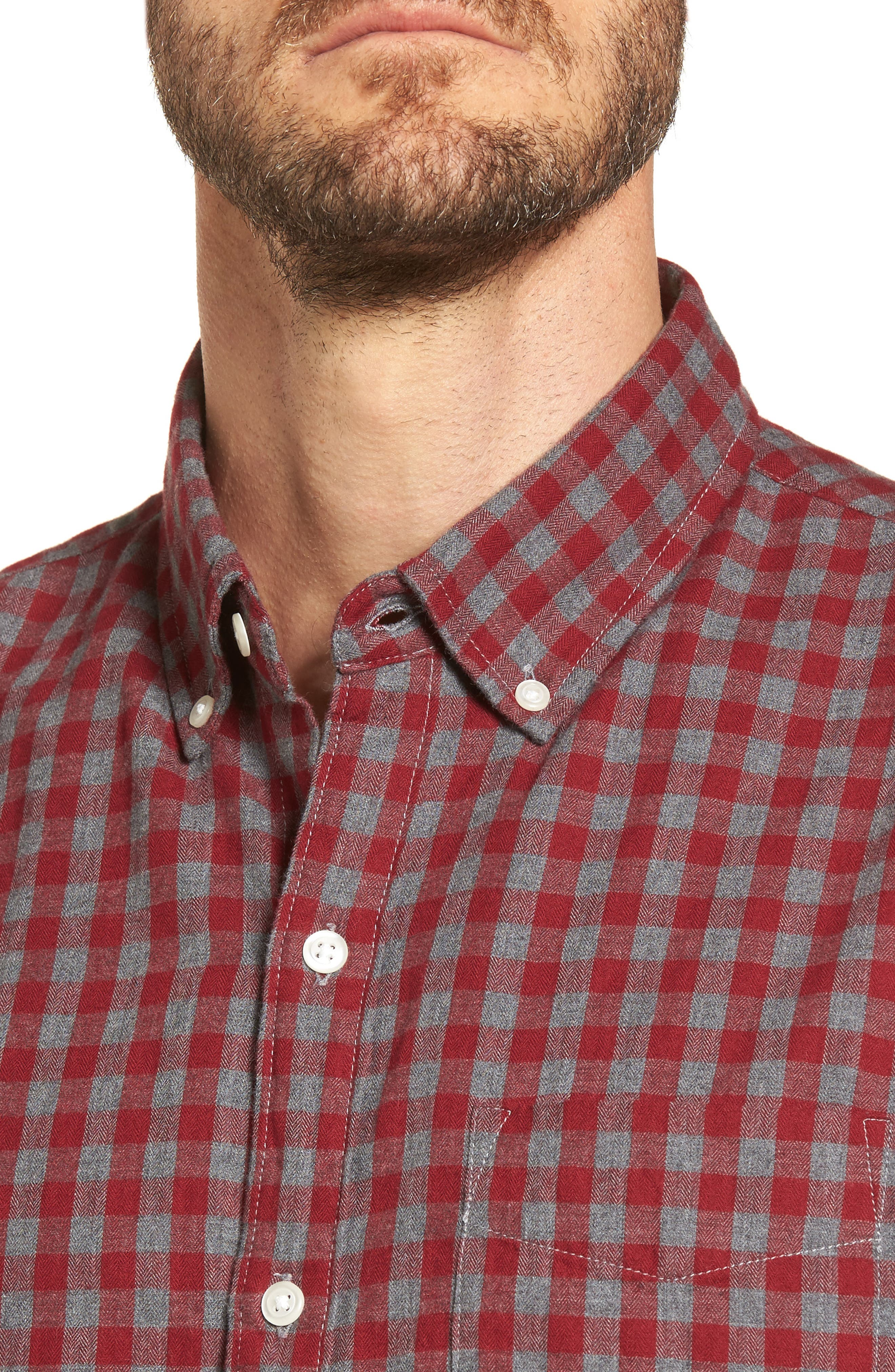 Slim Fit Washed Check Herringbone Sport Shirt,                             Alternate thumbnail 4, color,                             600
