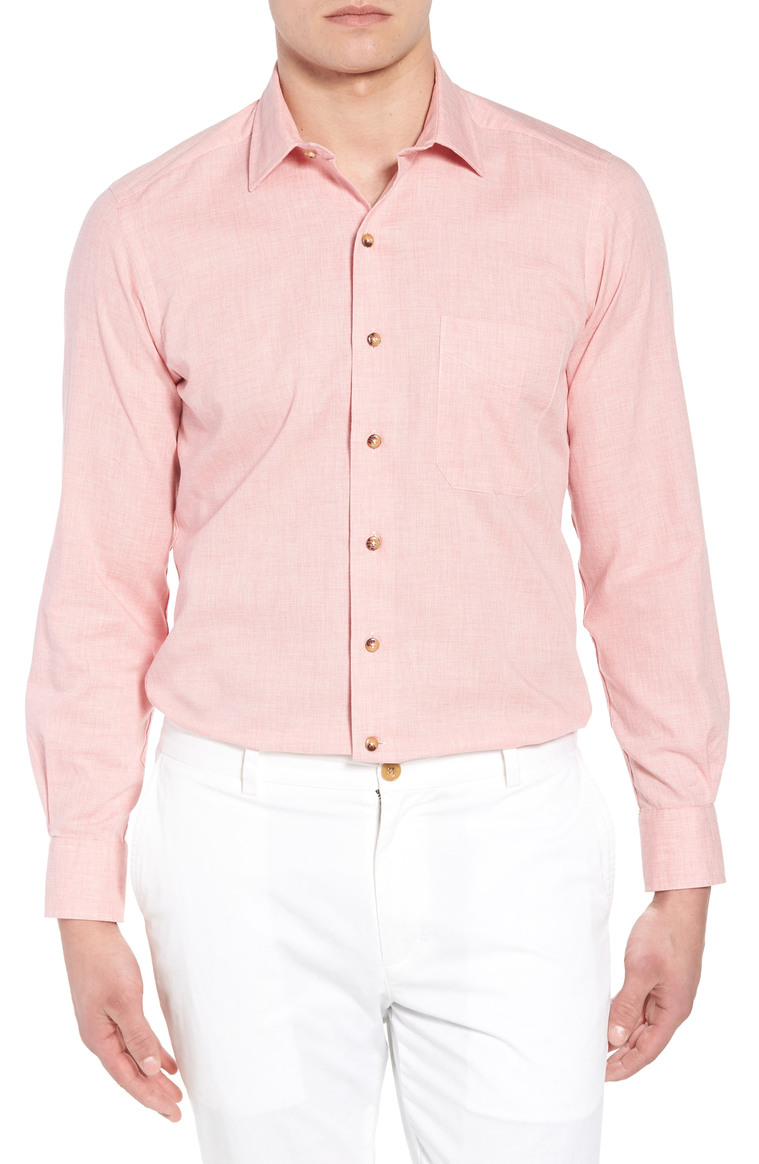 Regular Fit Garment Washed Mélange Sport Shirt,                             Main thumbnail 1, color,                             650