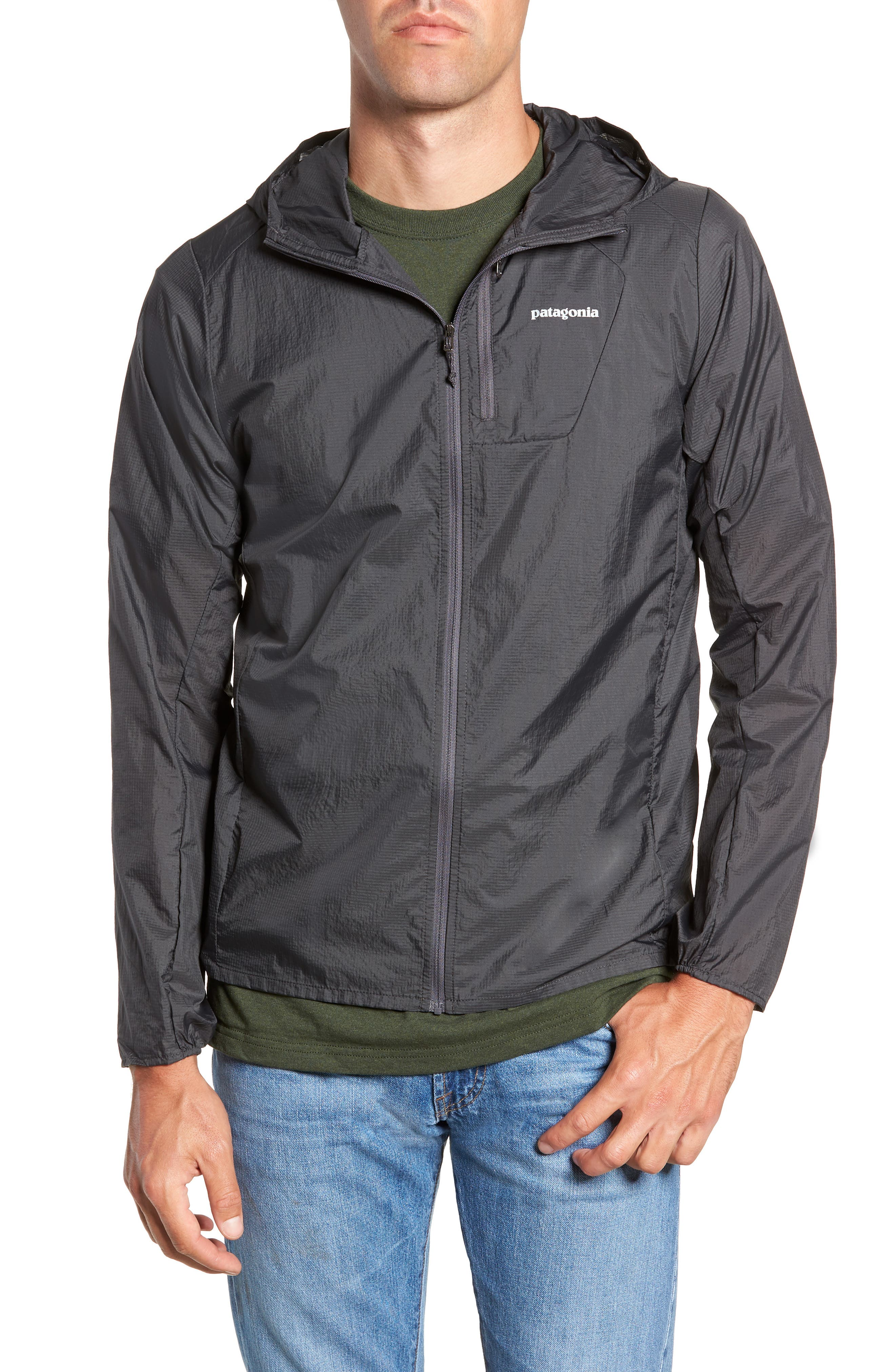 'Houdini' Slim Fit Water Repellent Hooded Jacket,                             Alternate thumbnail 4, color,                             FORGE GREY/ FORGE GREY