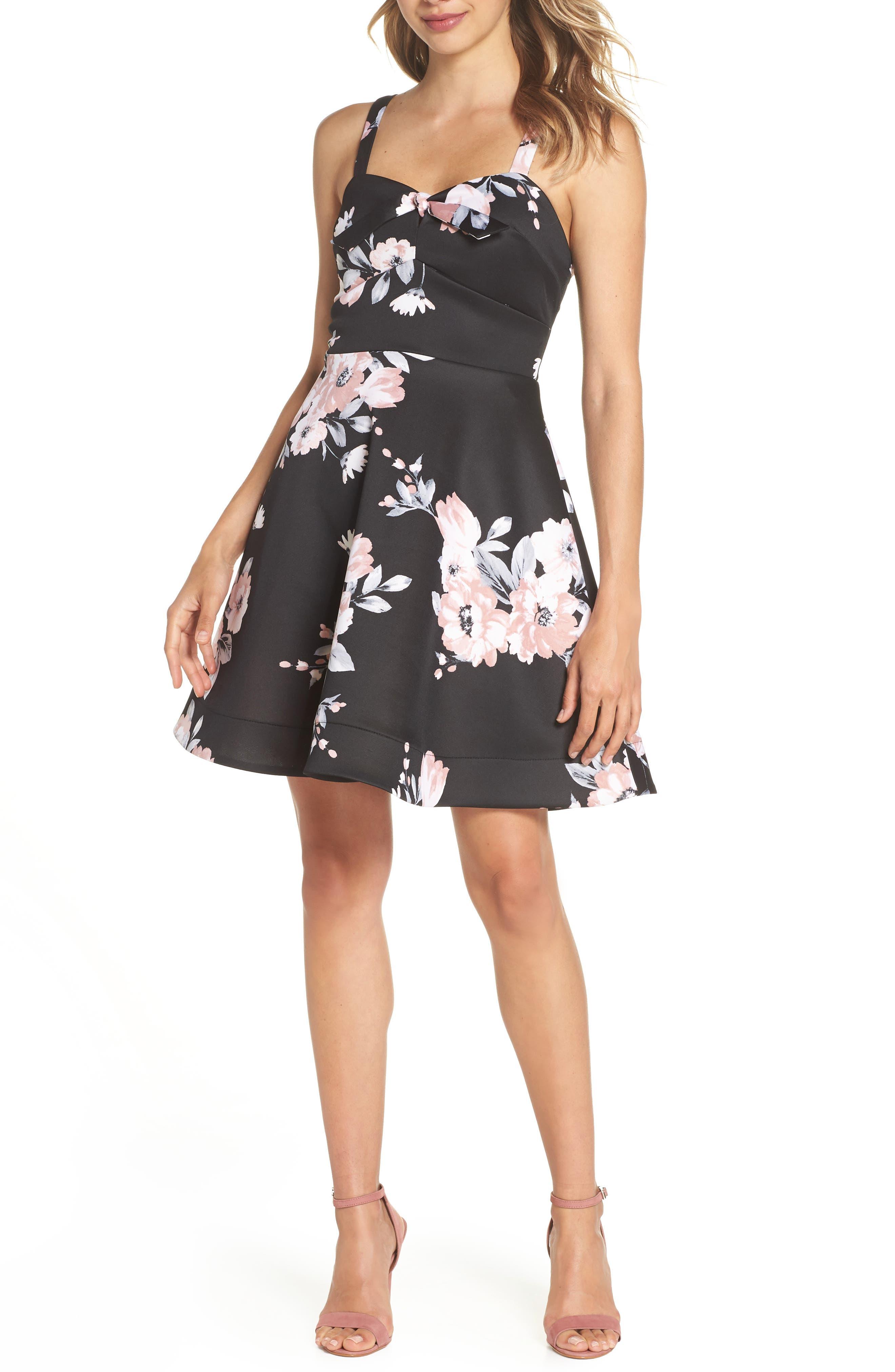 Floral Print Fit & Flare Dress,                             Main thumbnail 1, color,                             BLACK/ MAUVE
