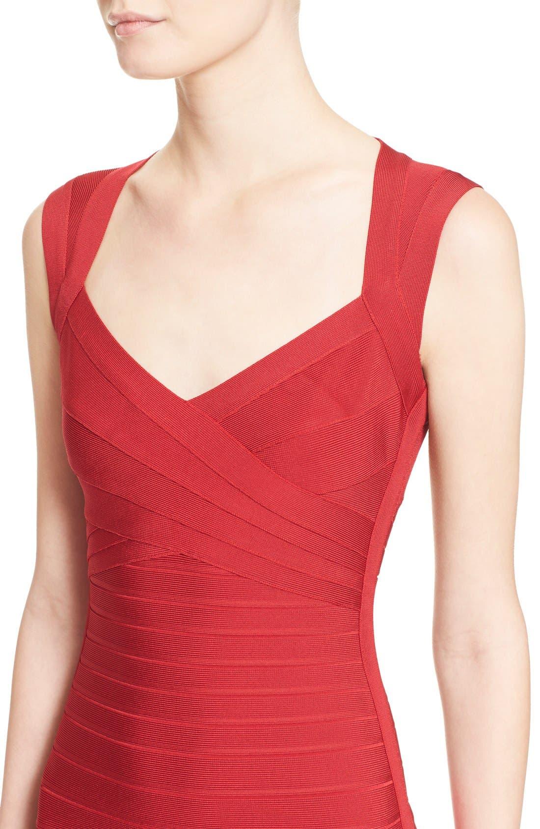 HERVE LEGER,                             Open Back Bandage Dress,                             Alternate thumbnail 6, color,                             616