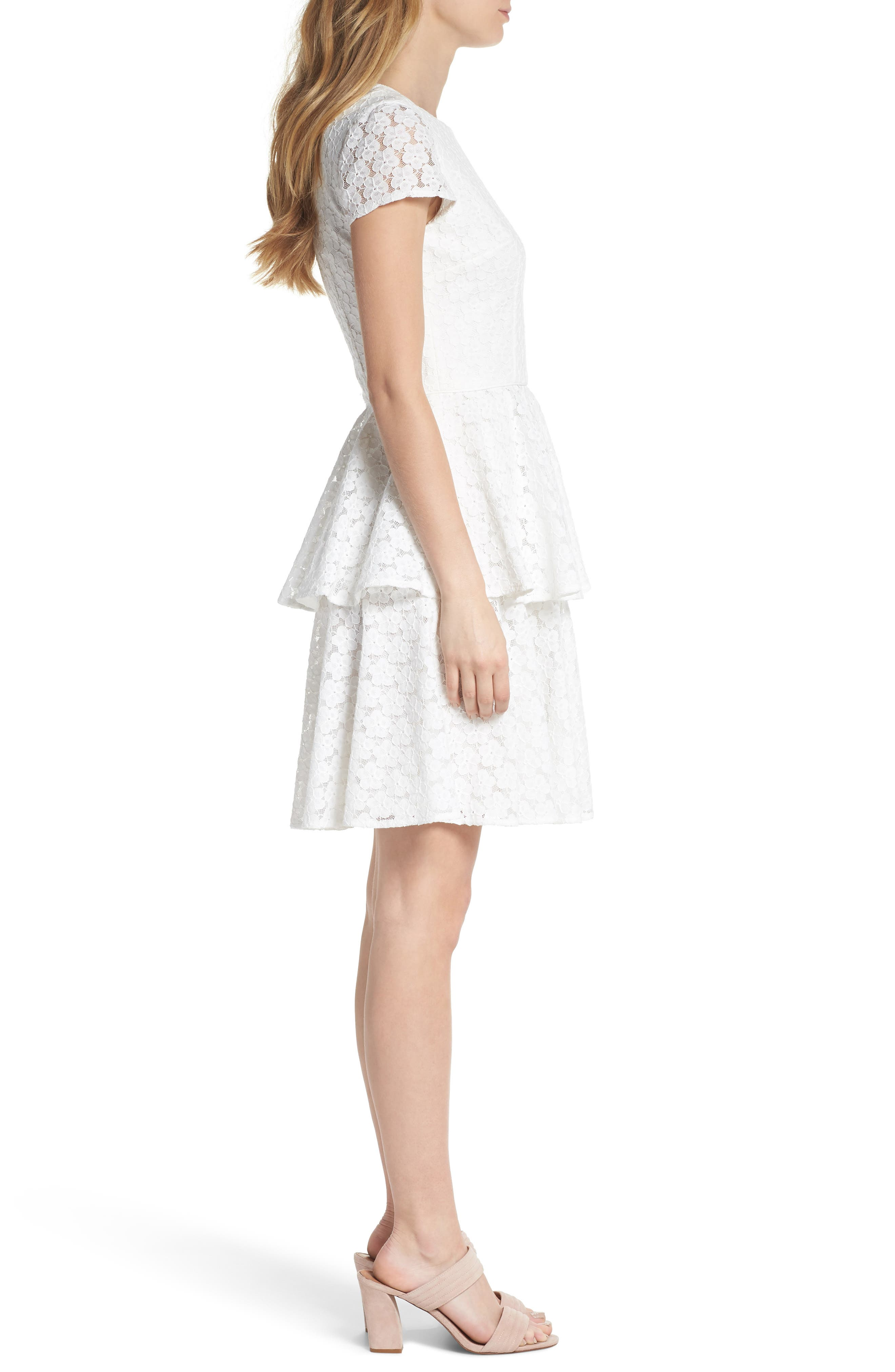 Daisy Lace Tiered Fit & Flare Dress,                             Alternate thumbnail 3, color,                             120