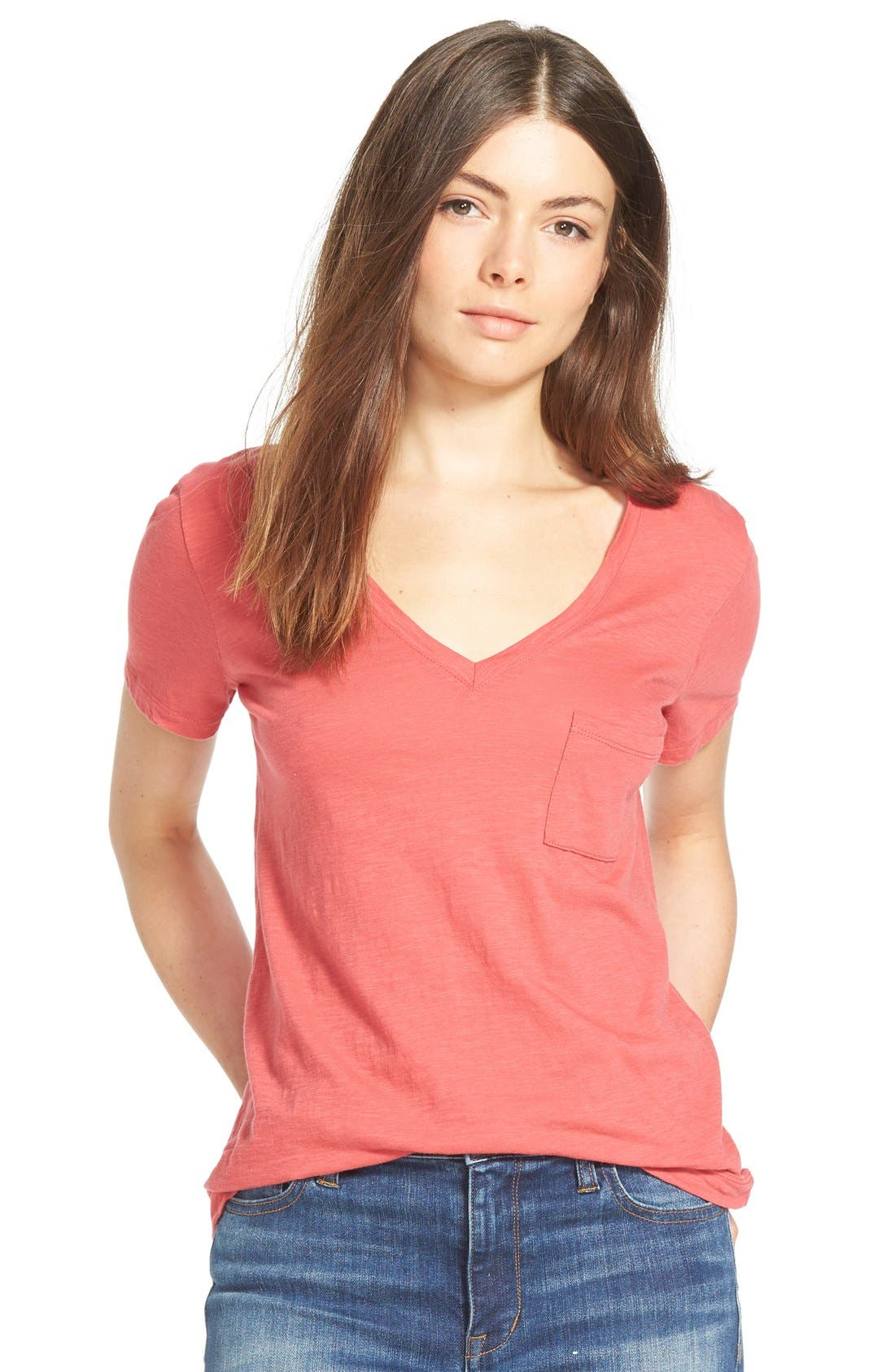 Whisper Cotton V-Neck Pocket Tee,                             Main thumbnail 30, color,