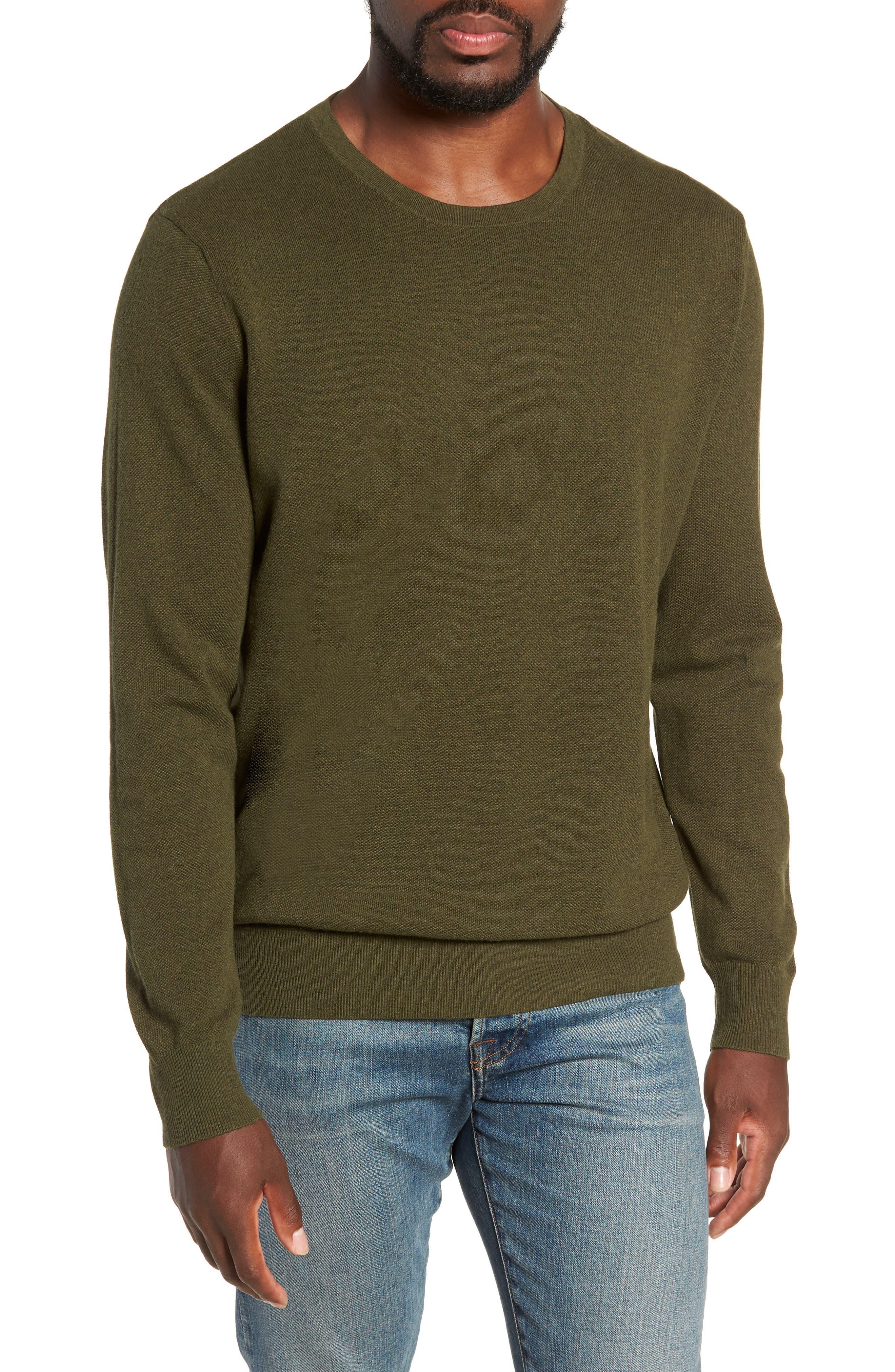 Cotton & Cashmere Piqué Crewneck Sweater,                             Main thumbnail 1, color,                             HEATHER OLIVE