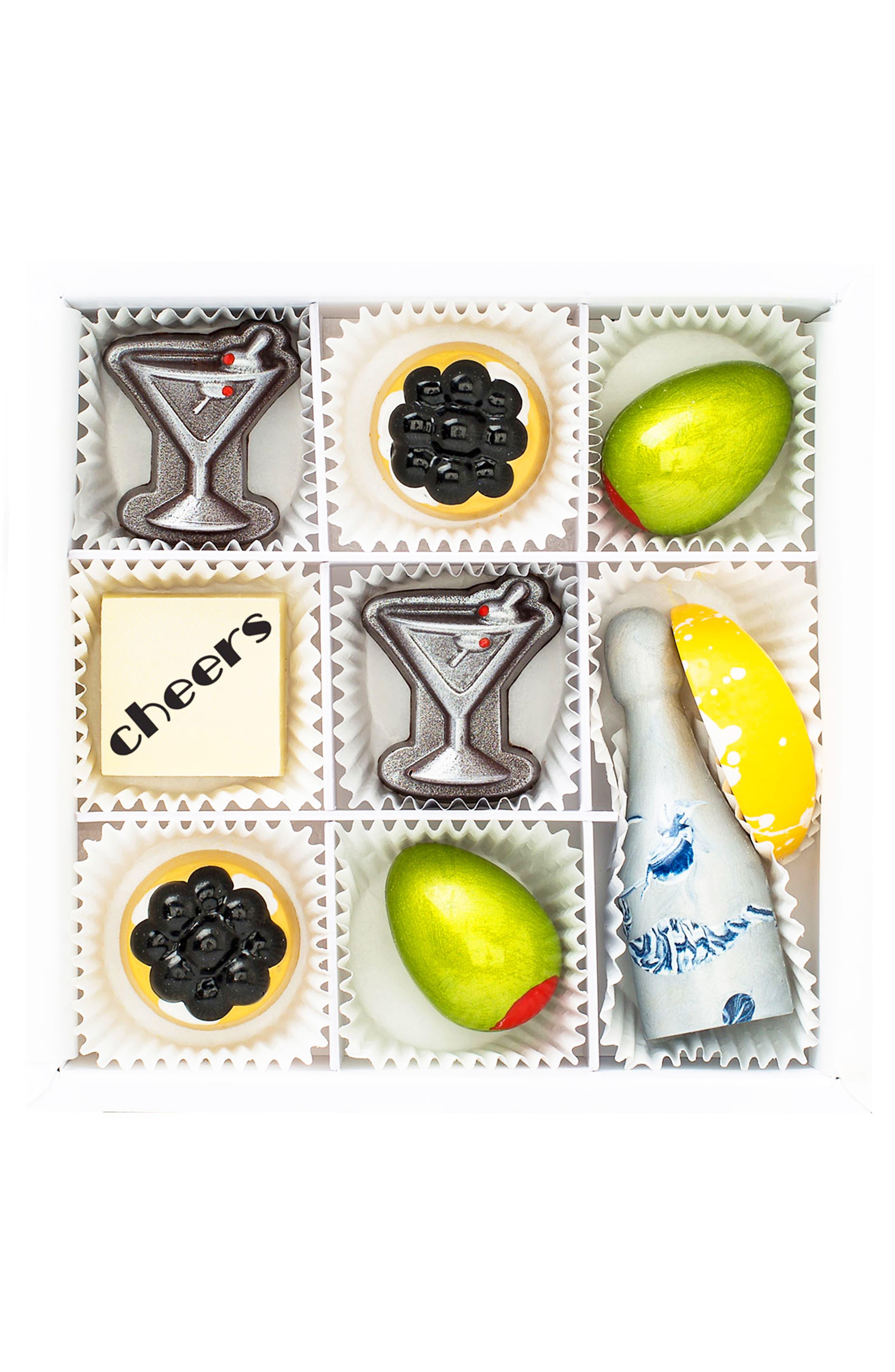 Cocktails & Caviar 9-Piece Chocolate Set,                         Main,                         color, WHITE