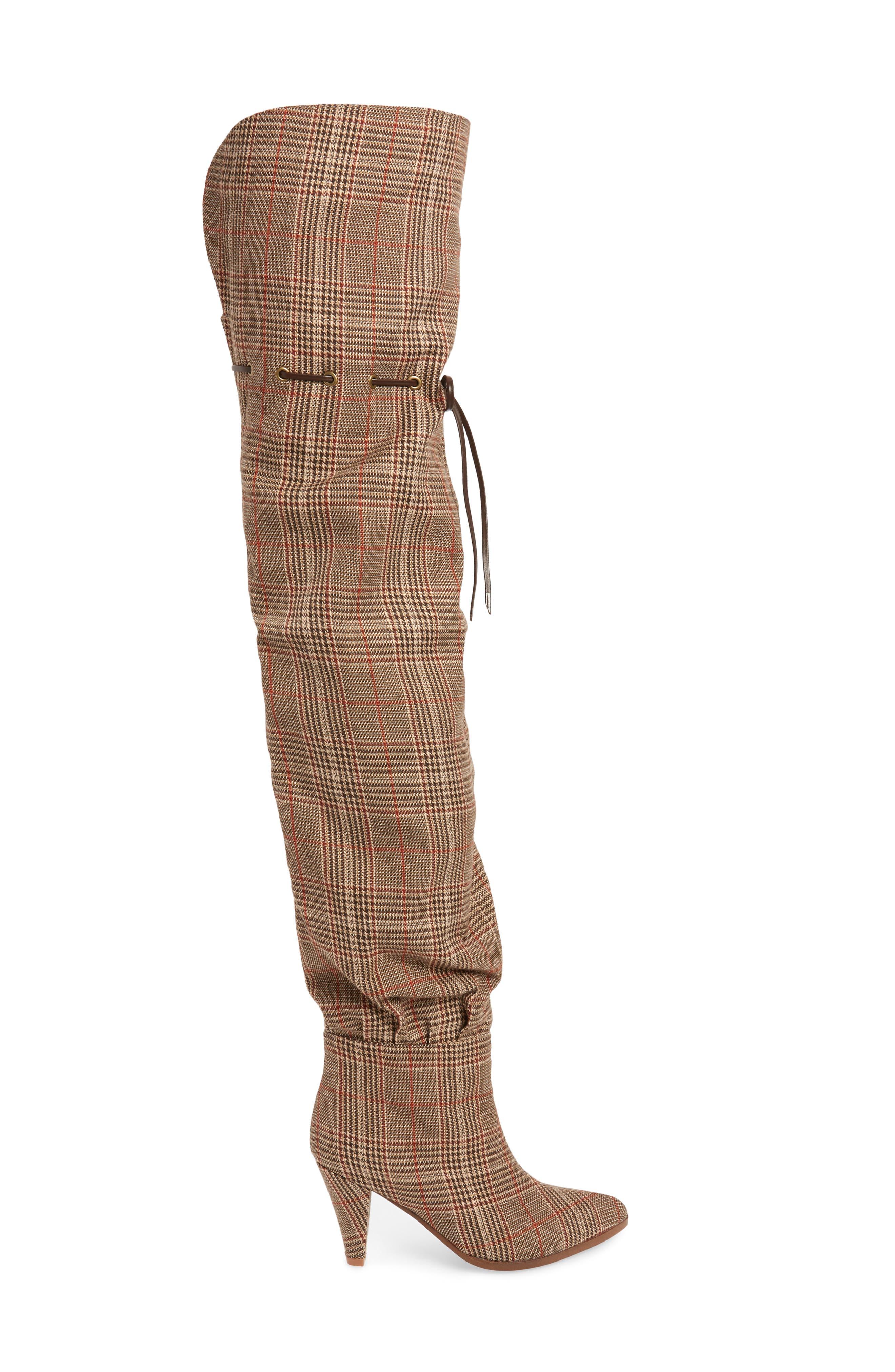 Go-Go-Girl Thigh High Boot,                             Alternate thumbnail 3, color,                             BEIGE PLAID