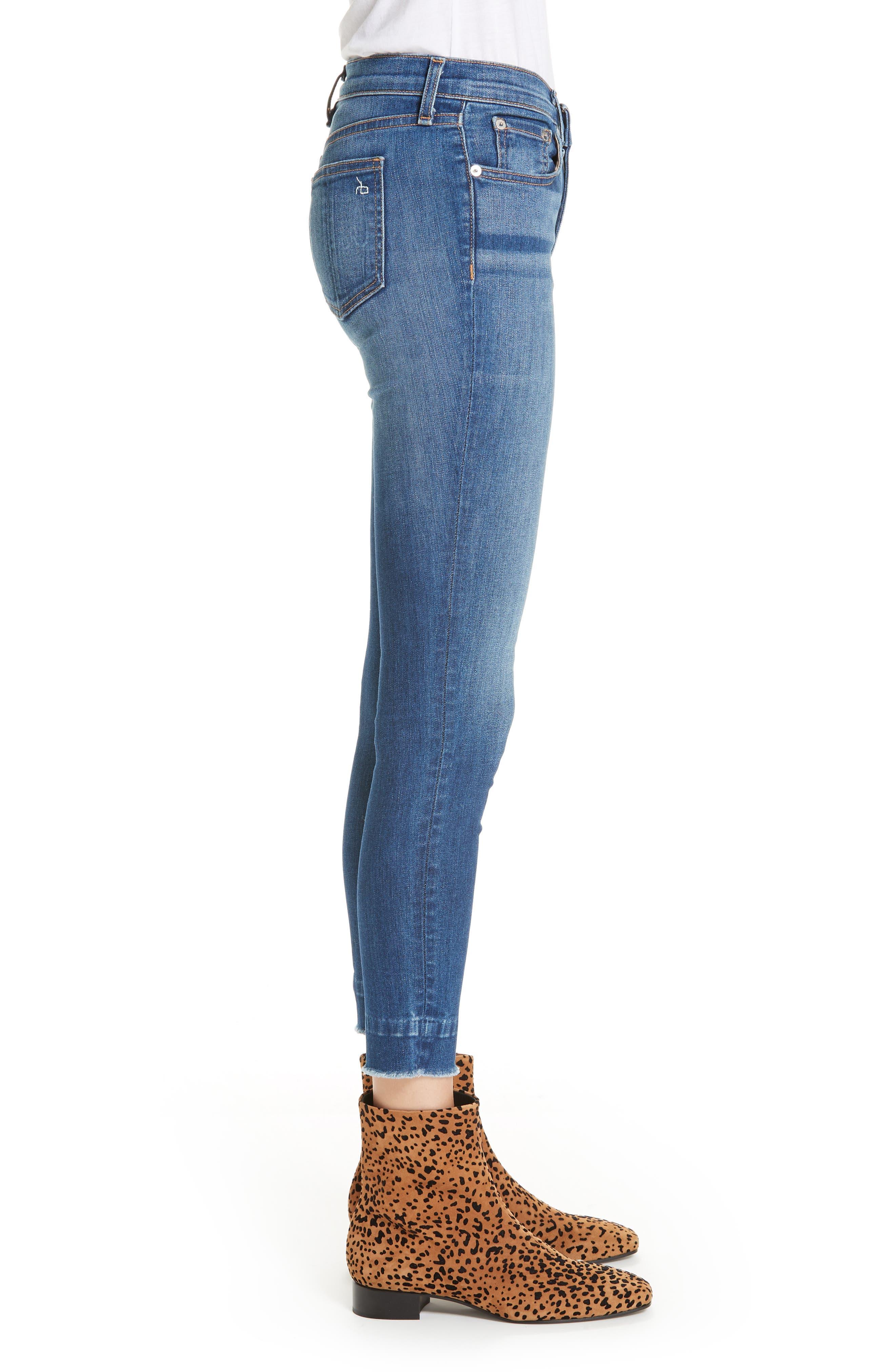 Raw Hem Ankle Skinny Jeans,                             Alternate thumbnail 3, color,                             BLAIR