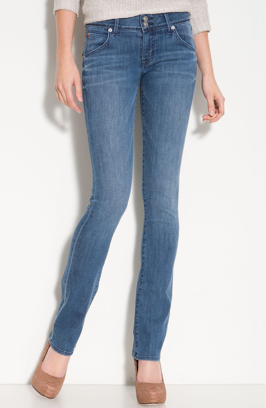'Baby Boot' Bootcut Stretch Denim Jeans,                             Main thumbnail 1, color,                             400