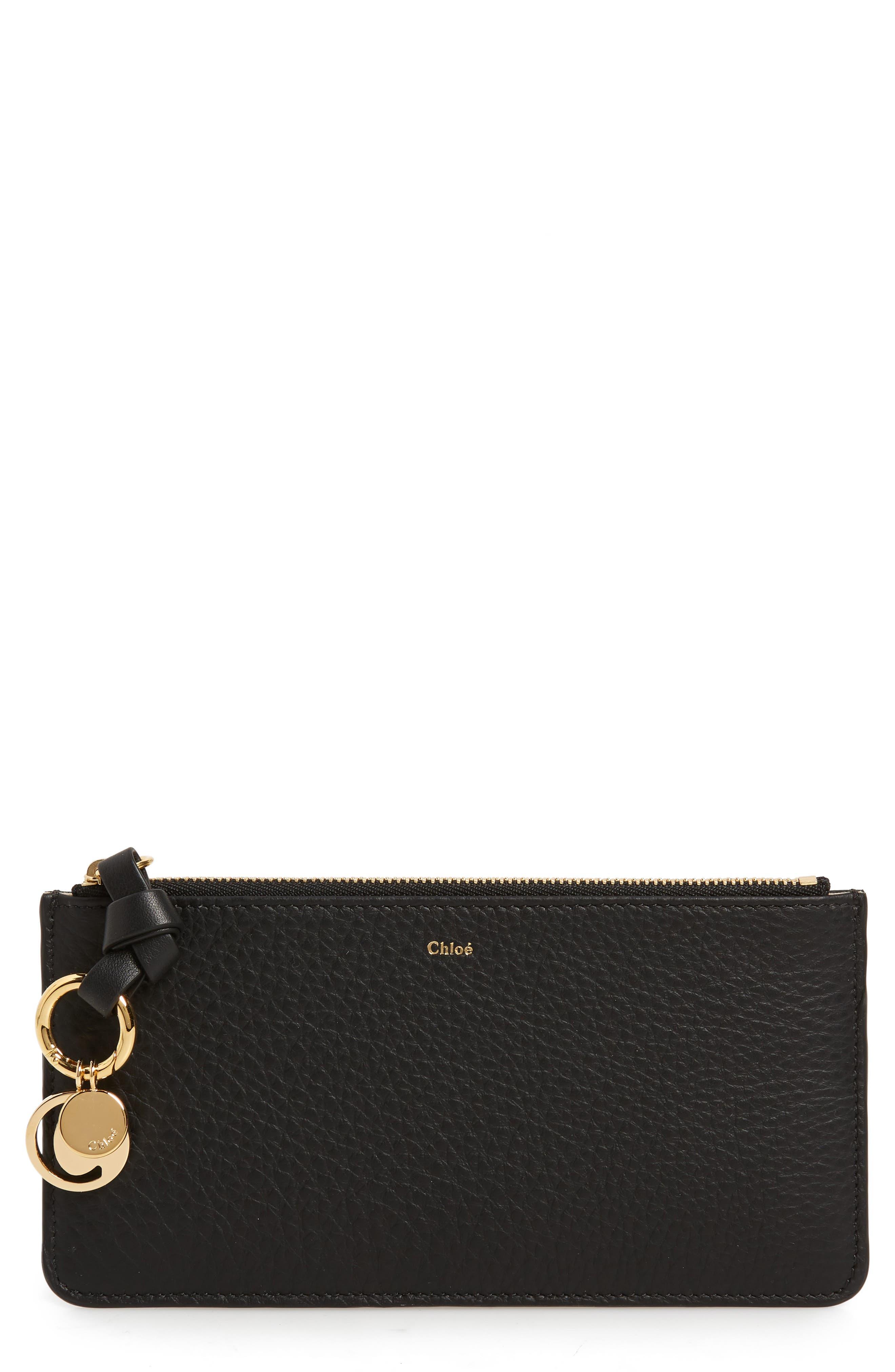 Zip Wallet Pouch,                         Main,                         color, BLACK