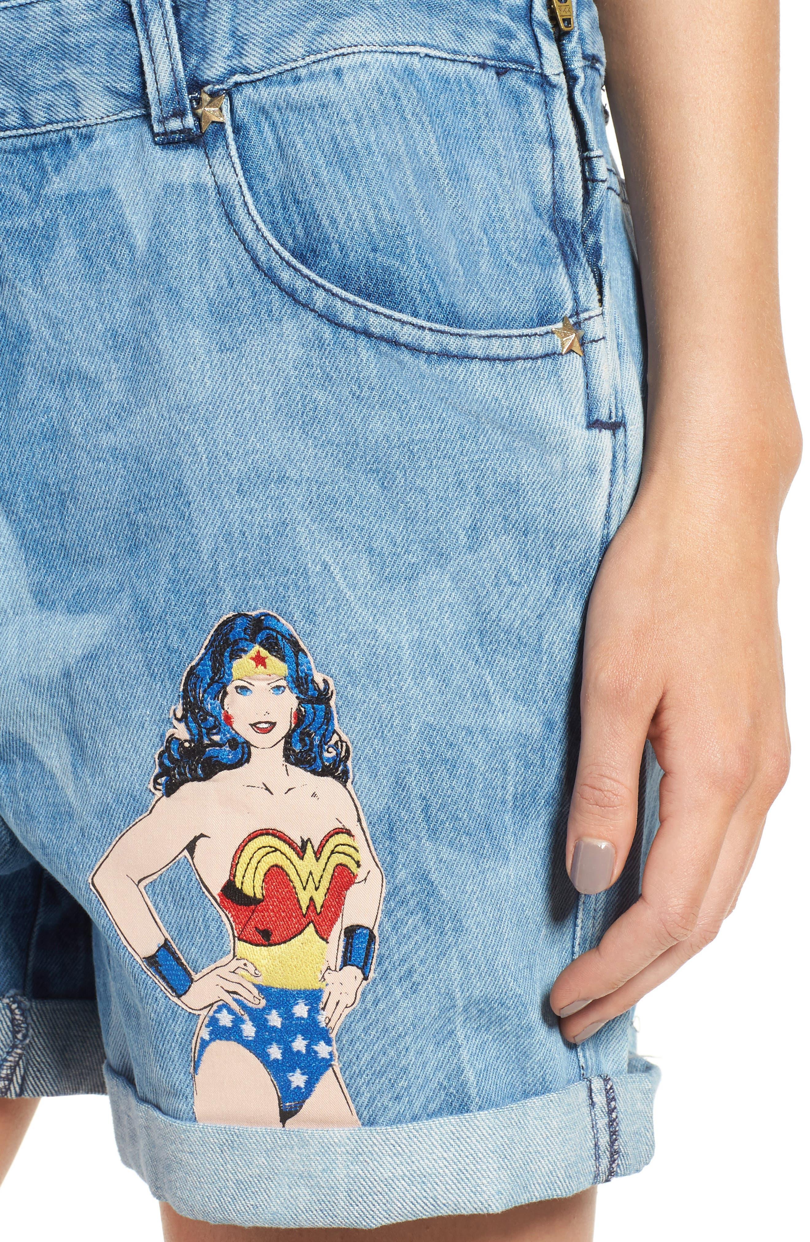 Wonder Woman Denim Short Overalls,                             Alternate thumbnail 4, color,                             460