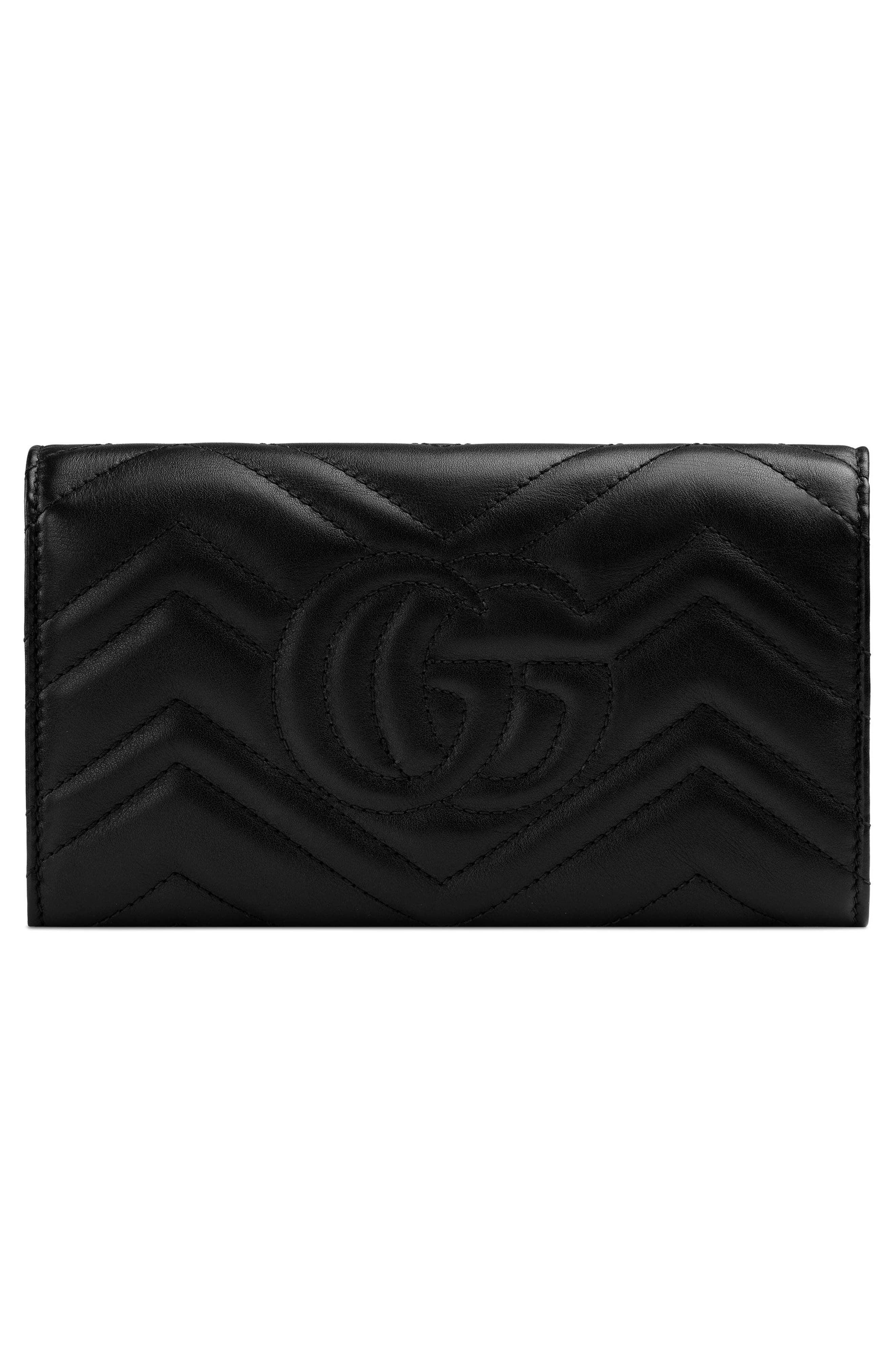 Marmont 2.0 Leather Continental Wallet,                             Alternate thumbnail 3, color,                             NERO