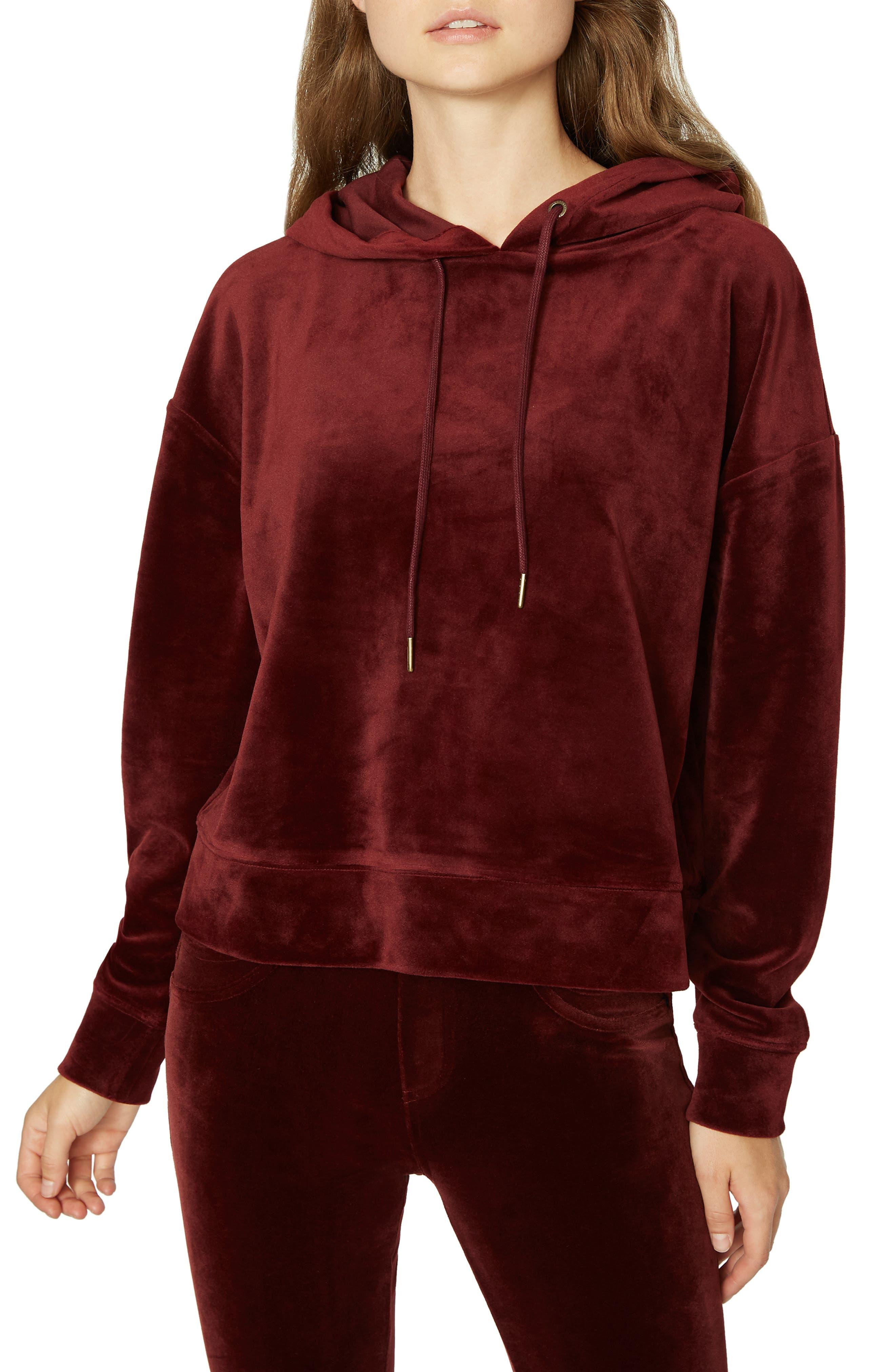 SANCTUARY Melrose Brigade Velour Hoodie Sweater, Main, color, 602