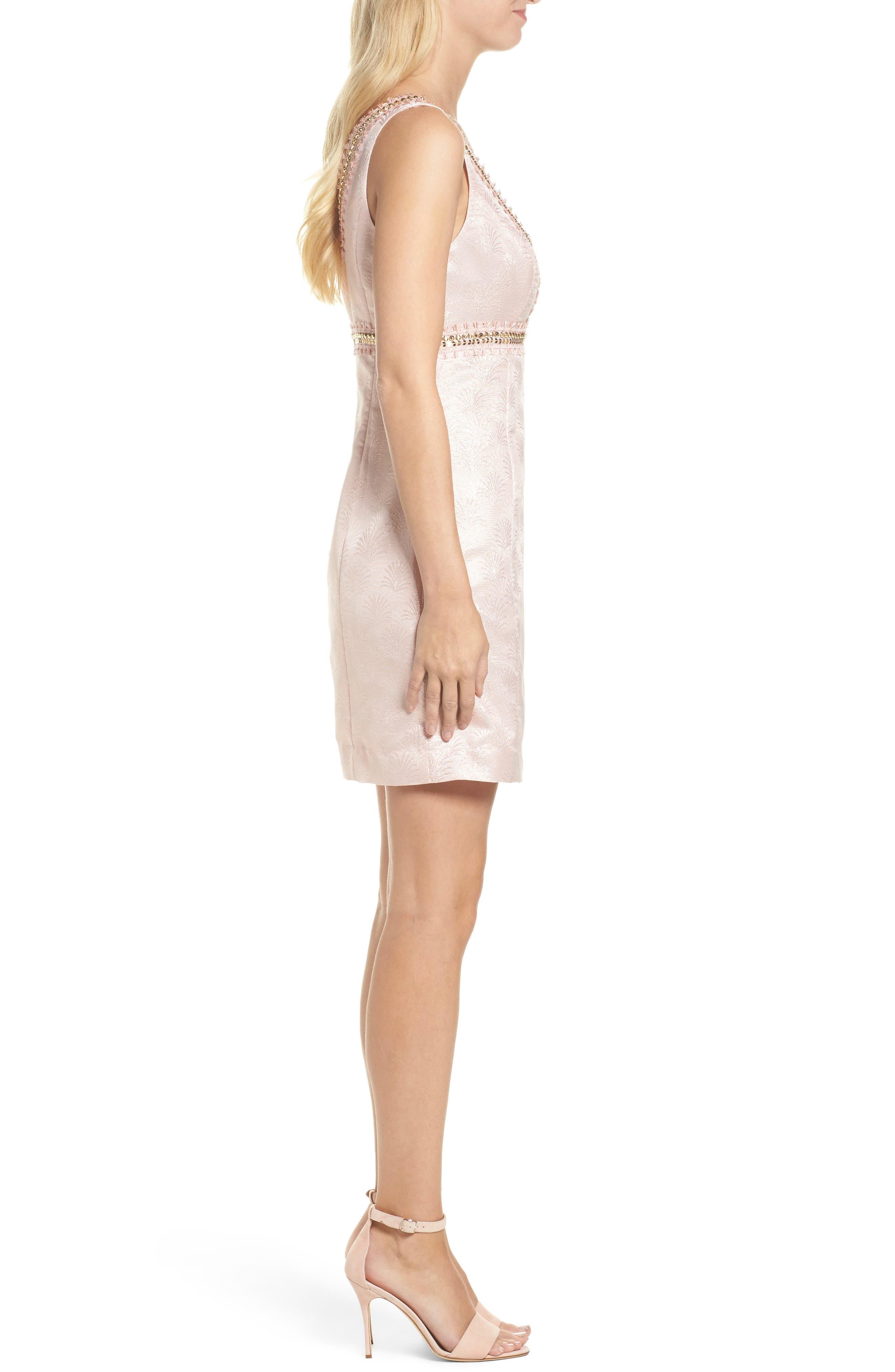 Karter Embellished Sheath Dress,                             Alternate thumbnail 3, color,                             650