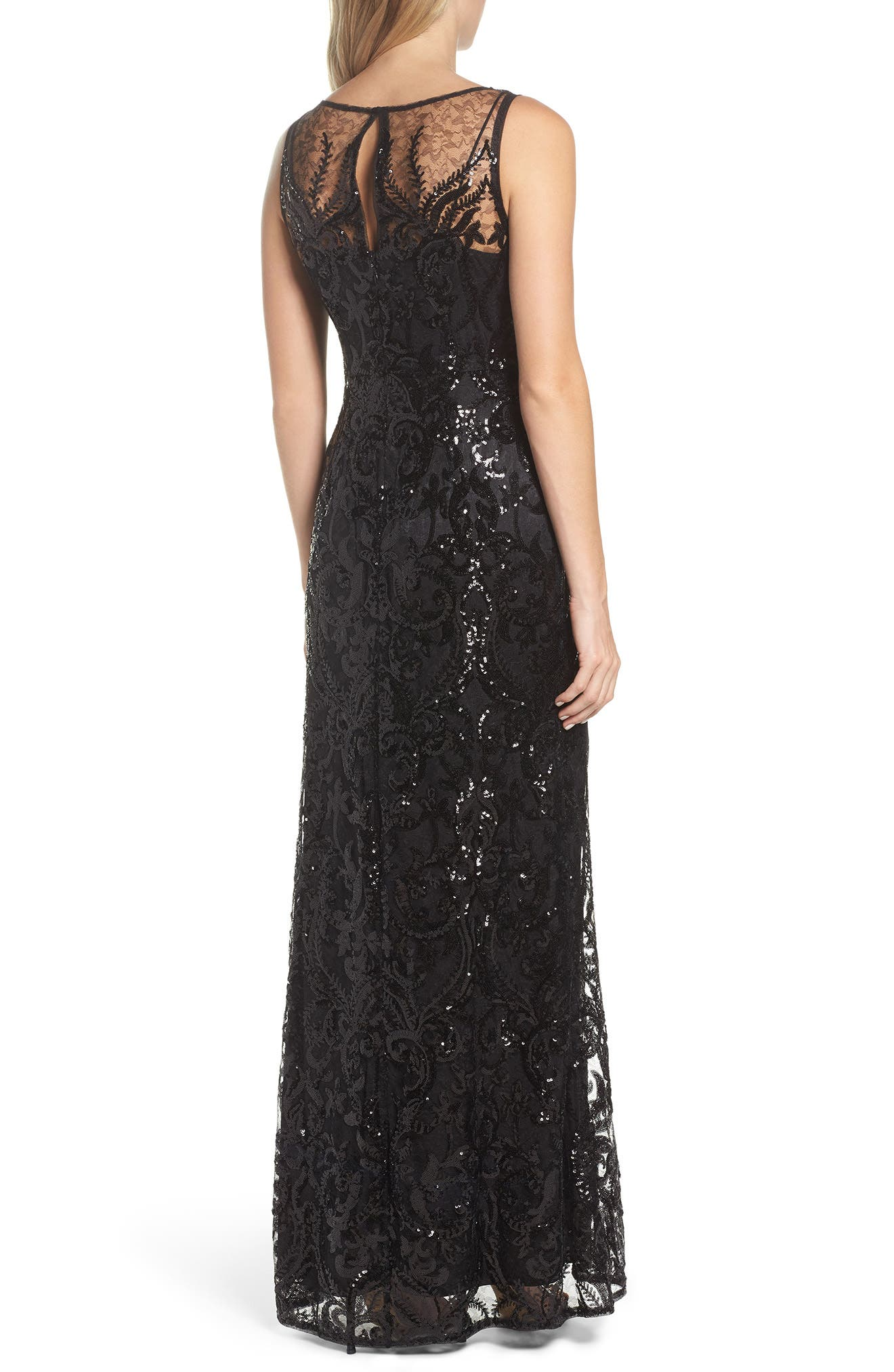 Sequin Embellished Chiffon Gown,                             Alternate thumbnail 2, color,                             002