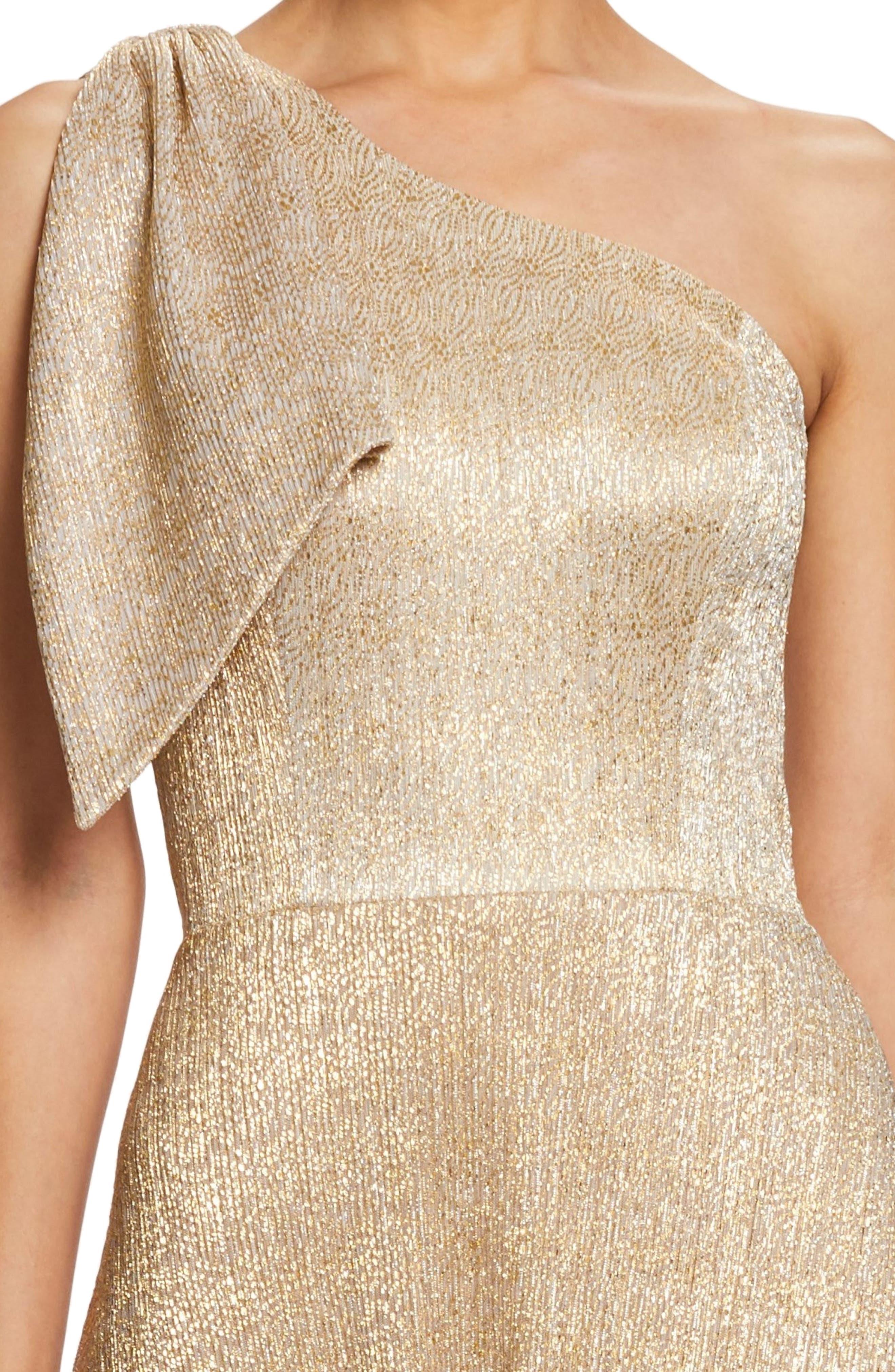 Savannah One-Shoulder Gown,                             Alternate thumbnail 4, color,                             GOLD