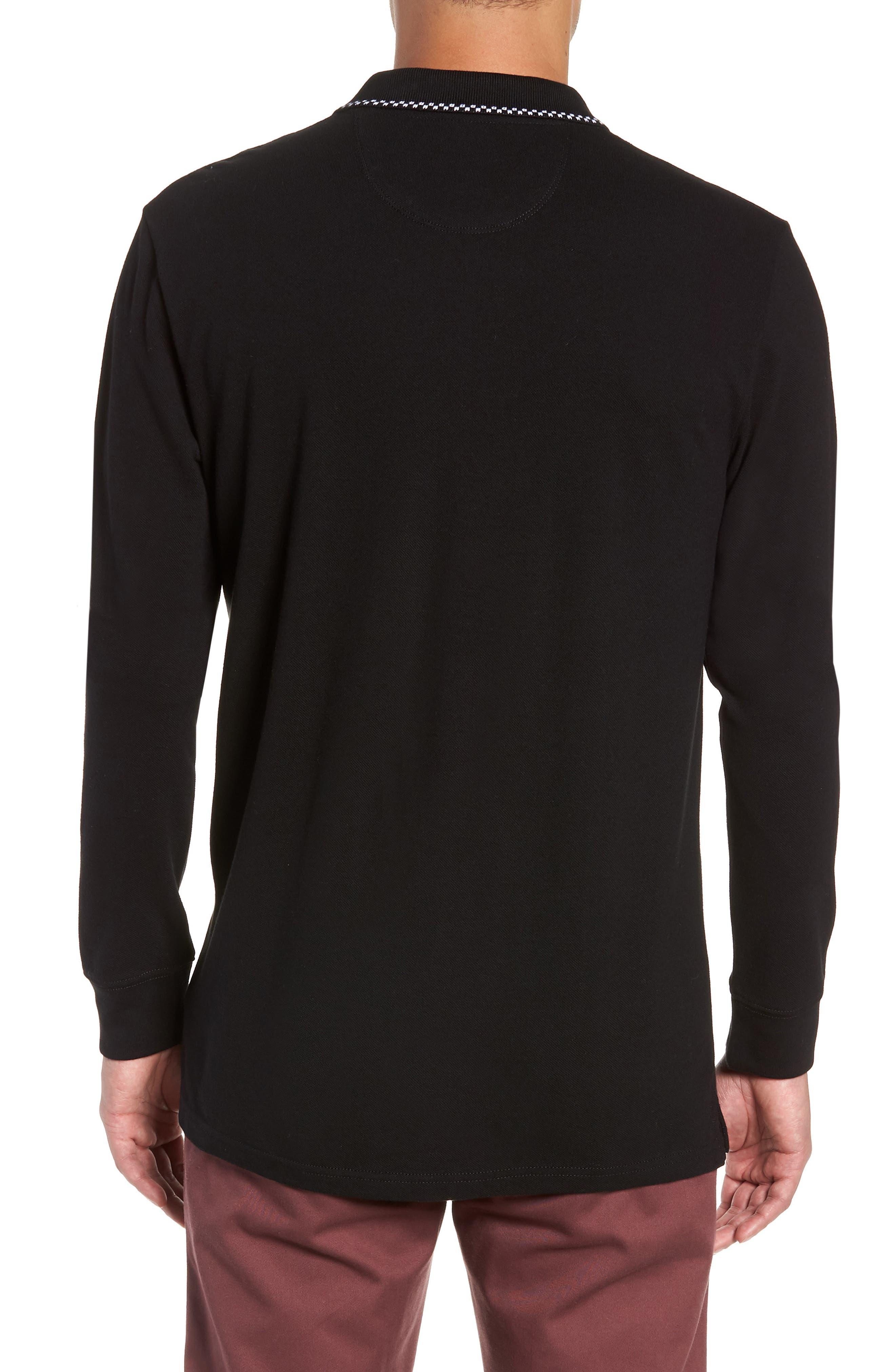 Check Tip Long Sleeve Piqué Polo,                             Alternate thumbnail 2, color,                             BLACK