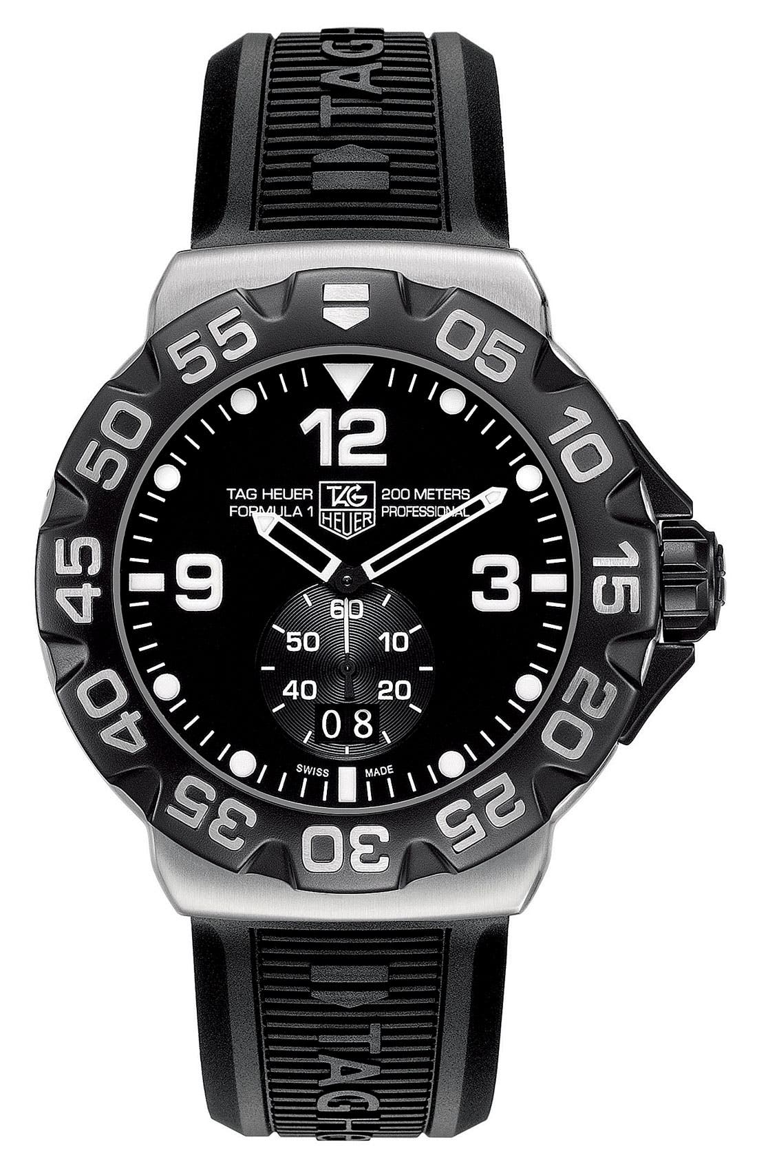 TAG HEUER 'Formula 1' Rubber Strap Watch, Main, color, 001