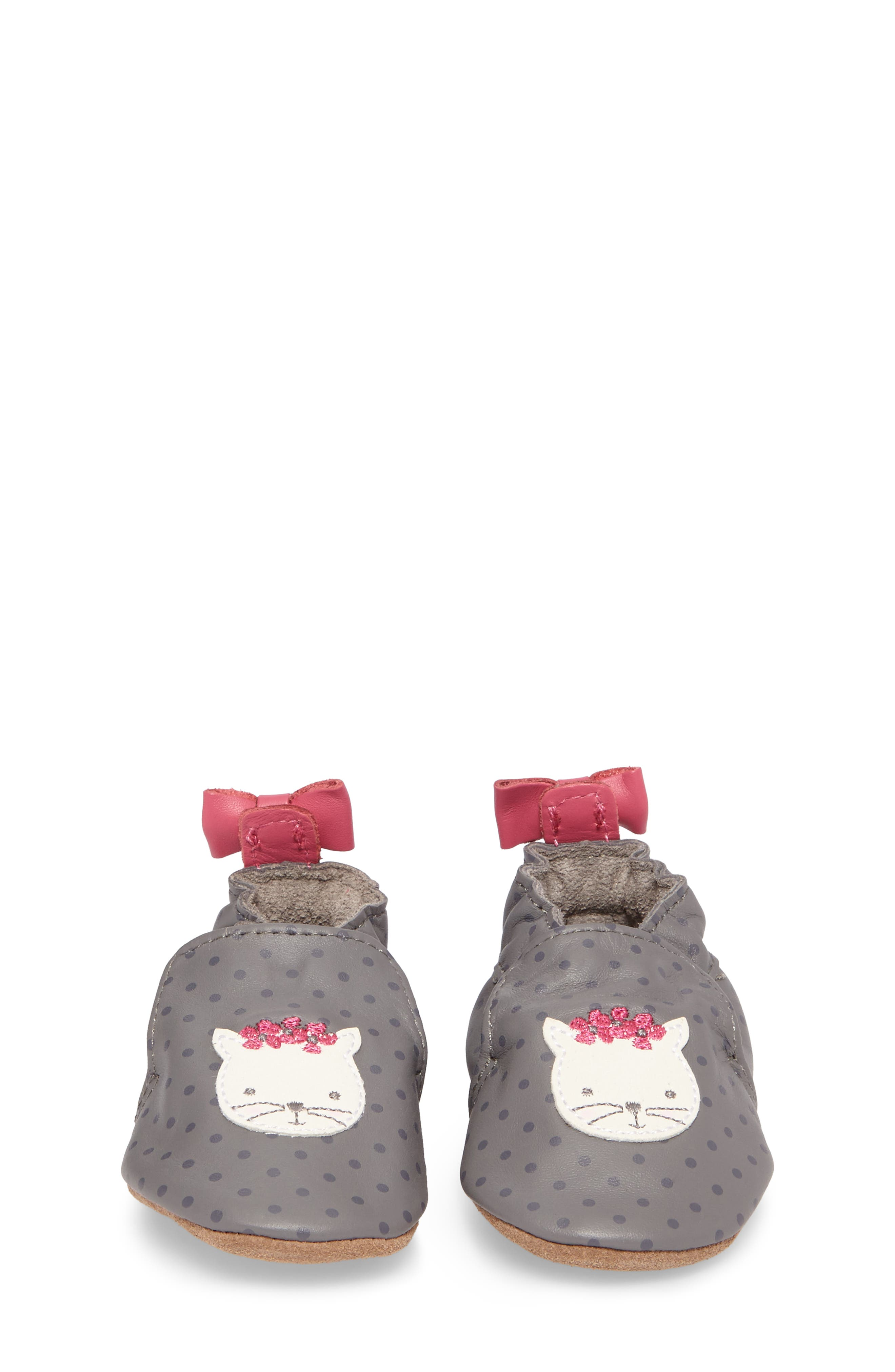 Miss Kitty Crib Shoe,                             Alternate thumbnail 4, color,                             GREY