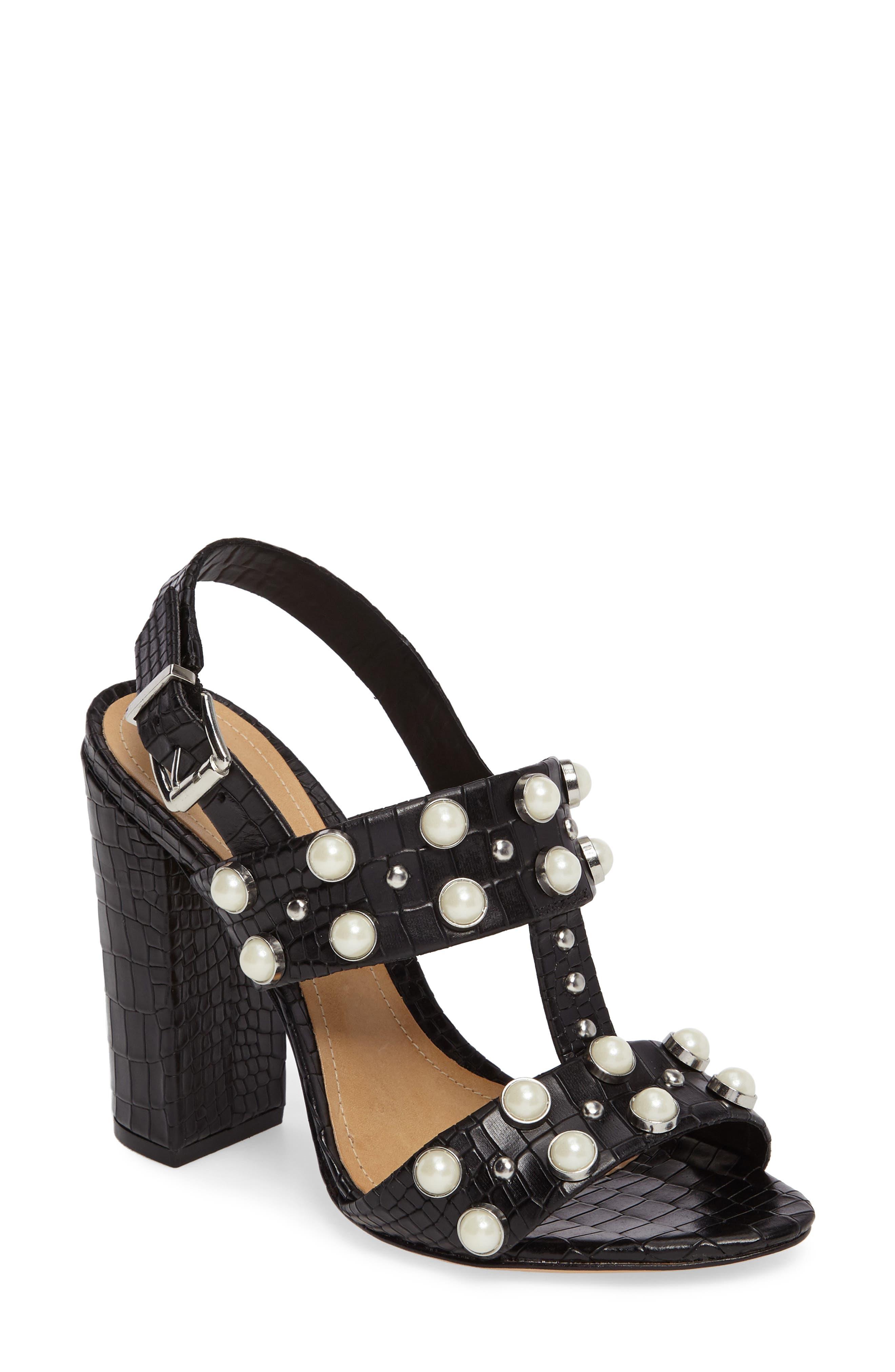 Zarita Imitation Pearl Embellished Sandal,                             Main thumbnail 1, color,                             001