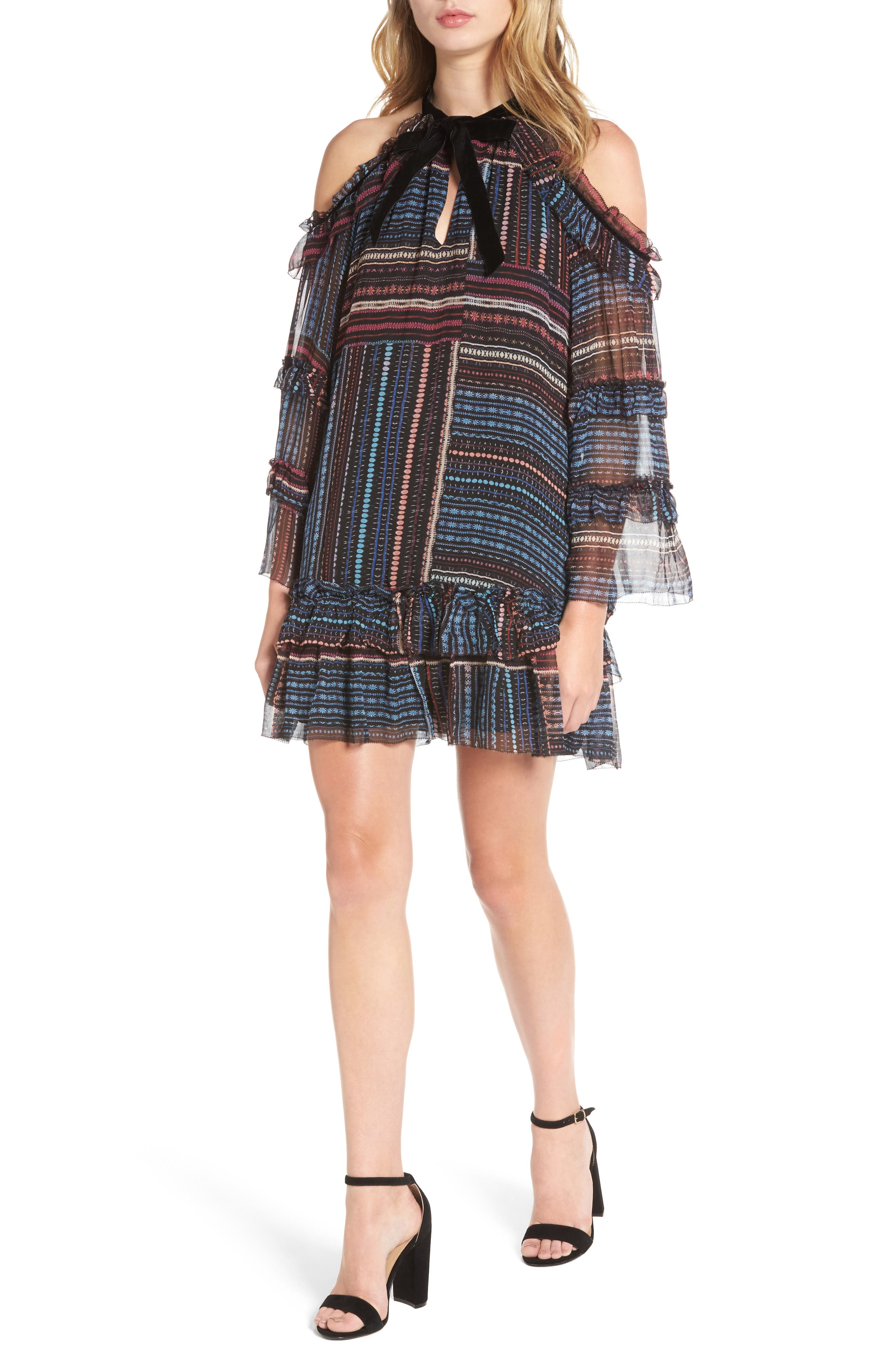 Bianca Cold Shoulder Silk Shift Dress,                         Main,                         color, 011
