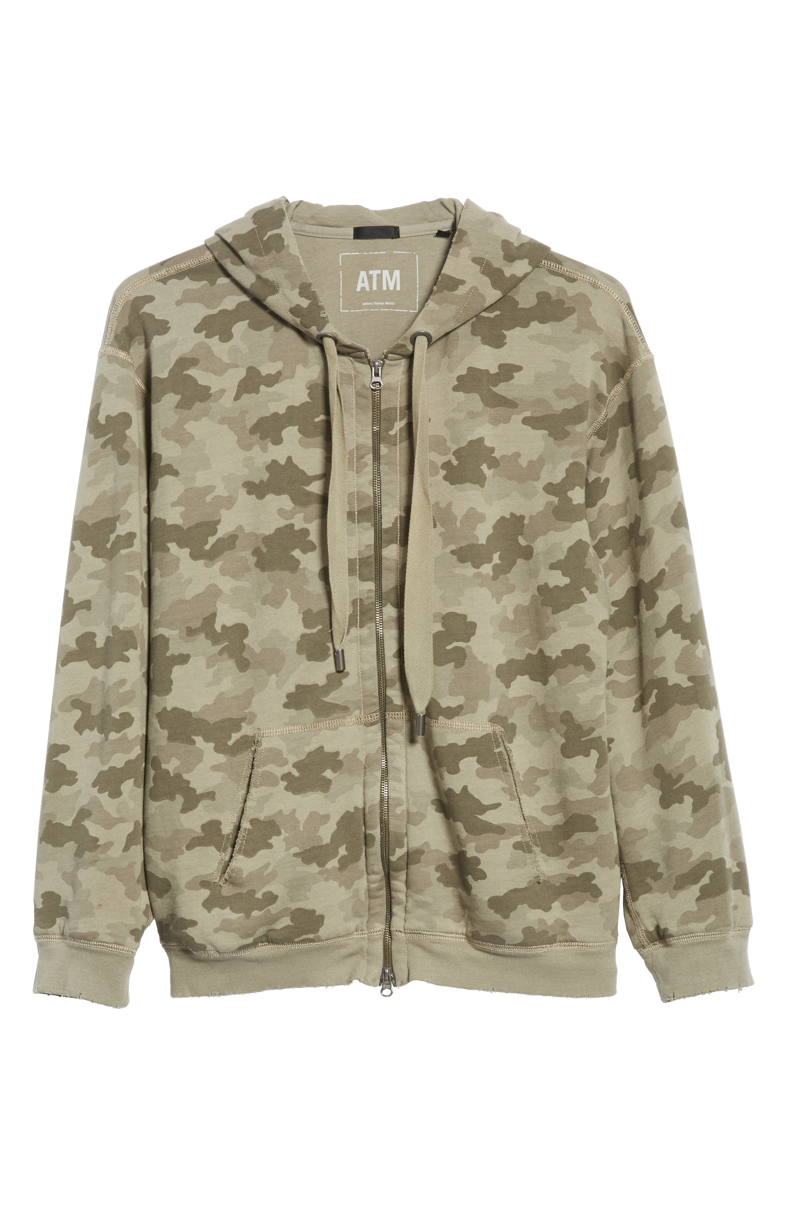 Camo French Terry Zip Hoodie,                             Alternate thumbnail 6, color,                             350