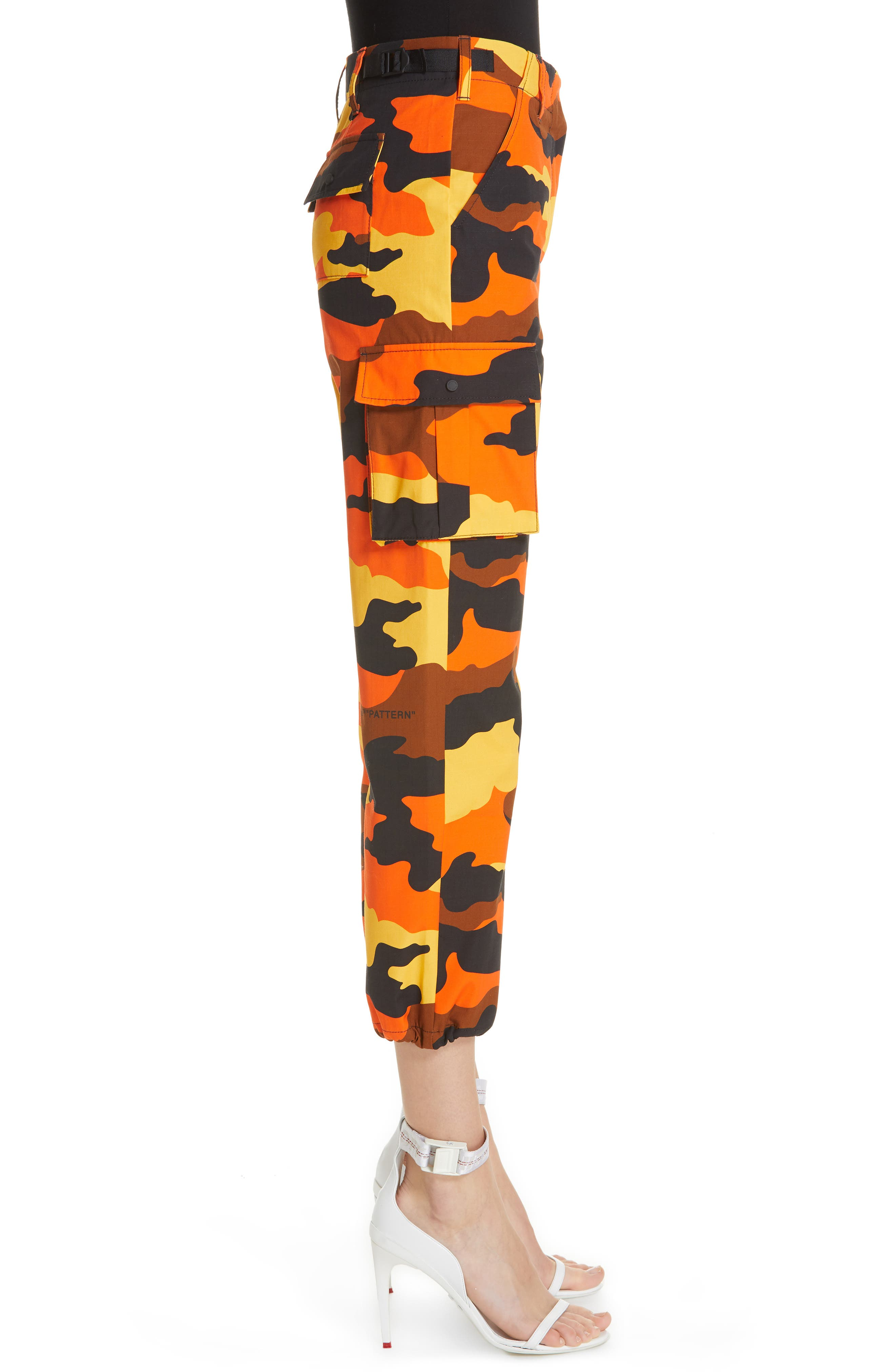OFF-WHITE,                             Camo Cargo Pants,                             Alternate thumbnail 3, color,                             ALL OVER