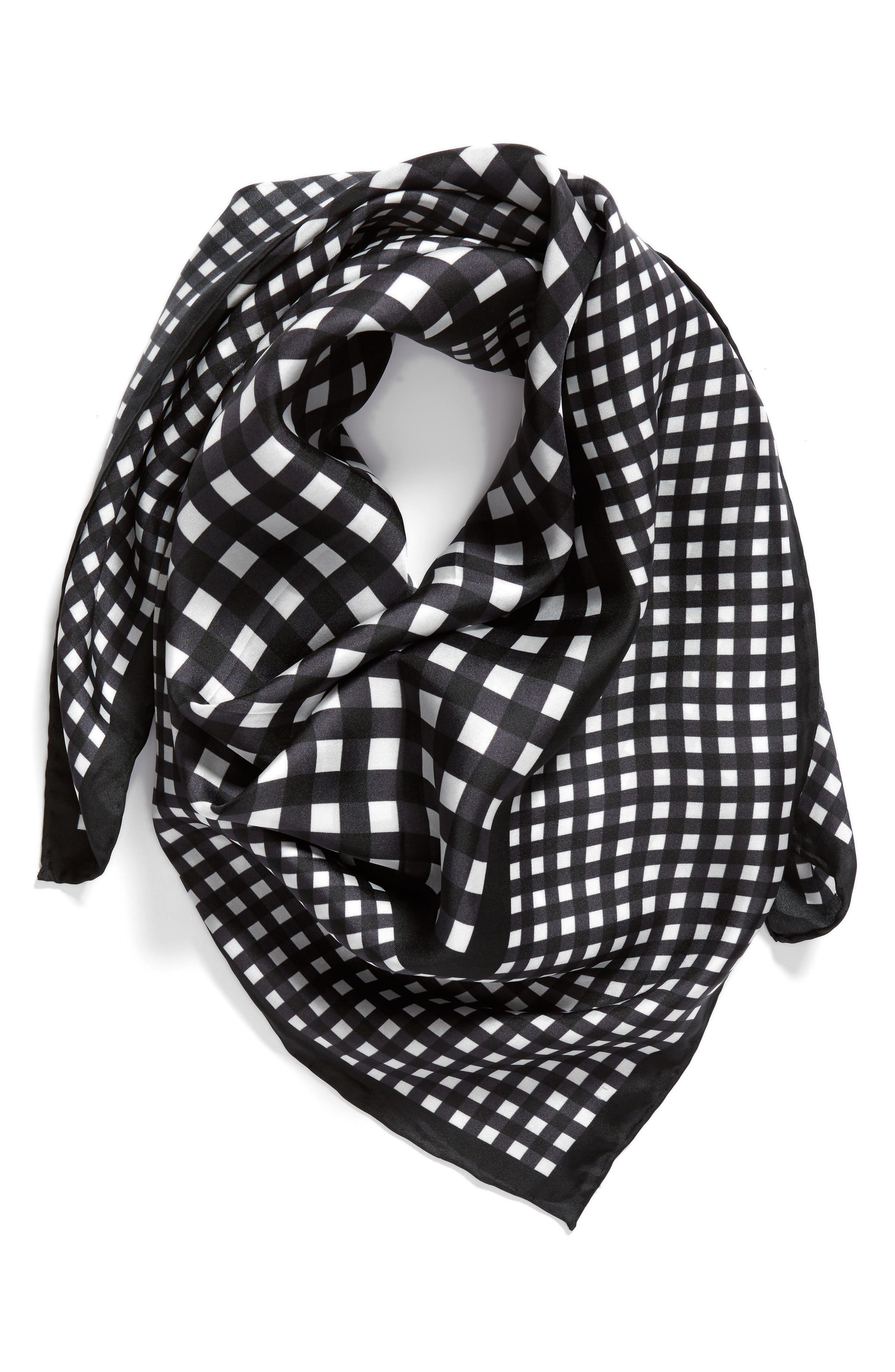 gingham square silk scarf,                             Alternate thumbnail 2, color,                             001