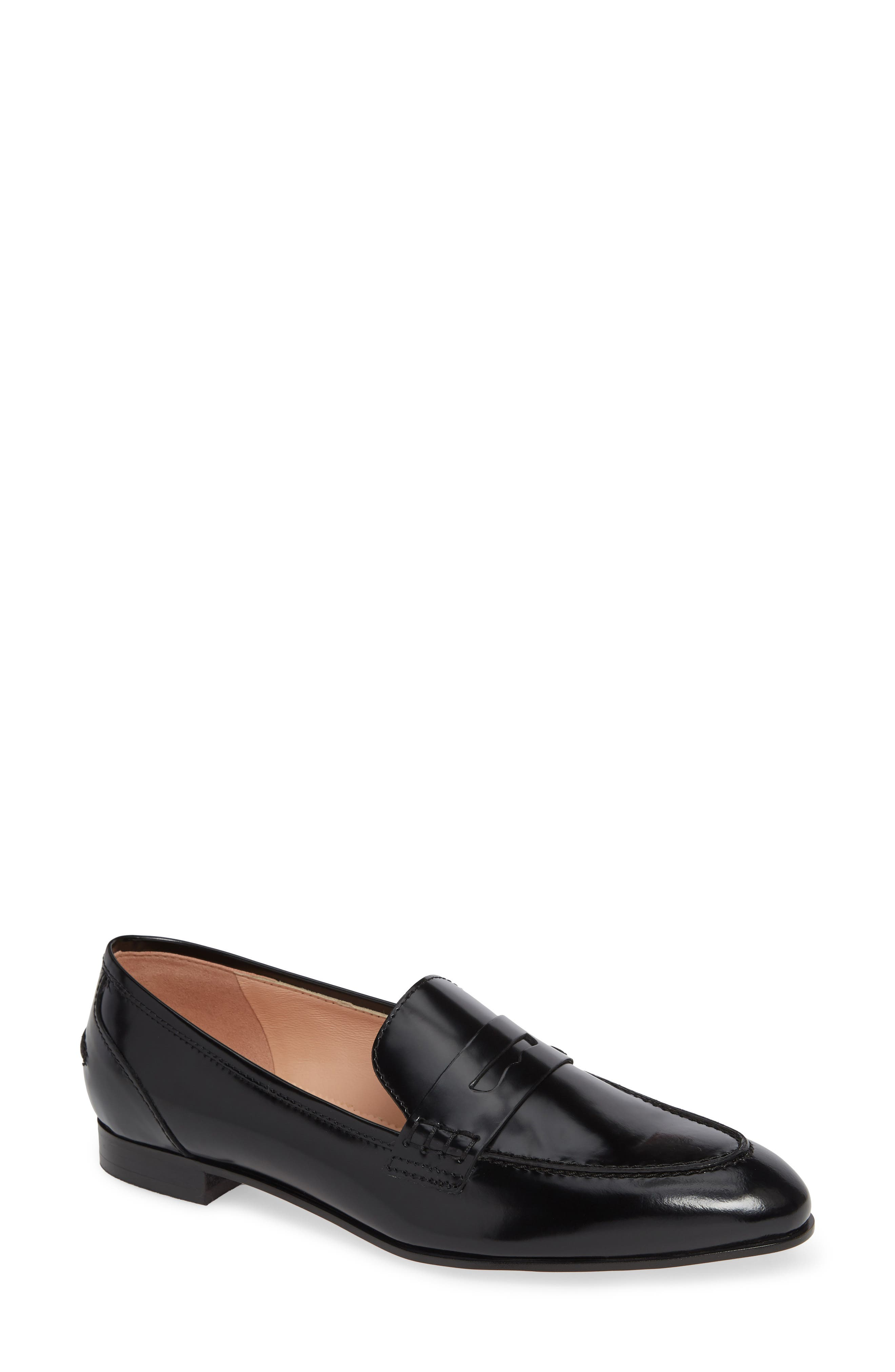 Academy Penny Loafer,                             Main thumbnail 1, color,                             BLACK LEATHER