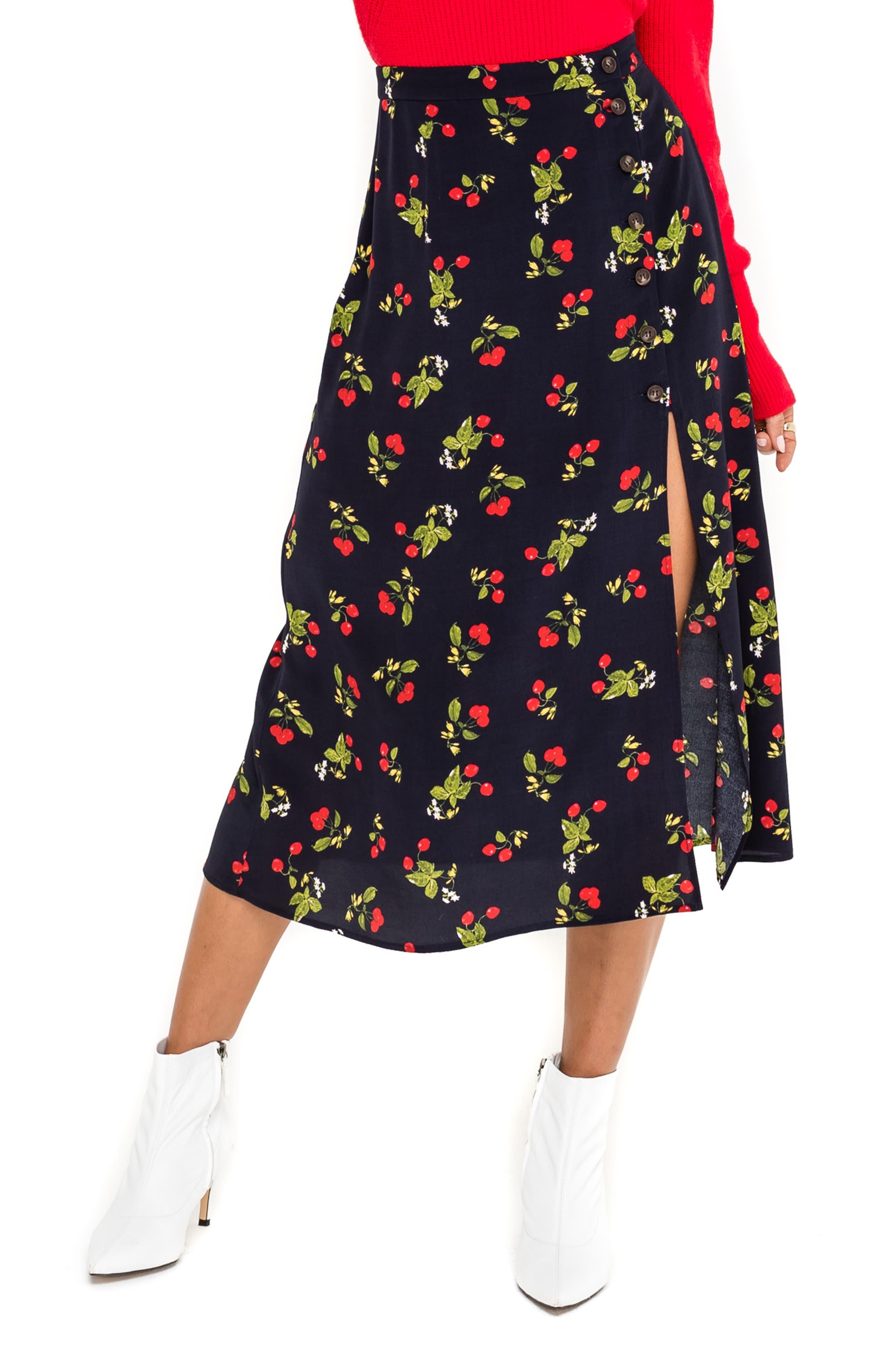 Astr The Label Cherry Pattern Button Side Slit Midi Skirt, Blue