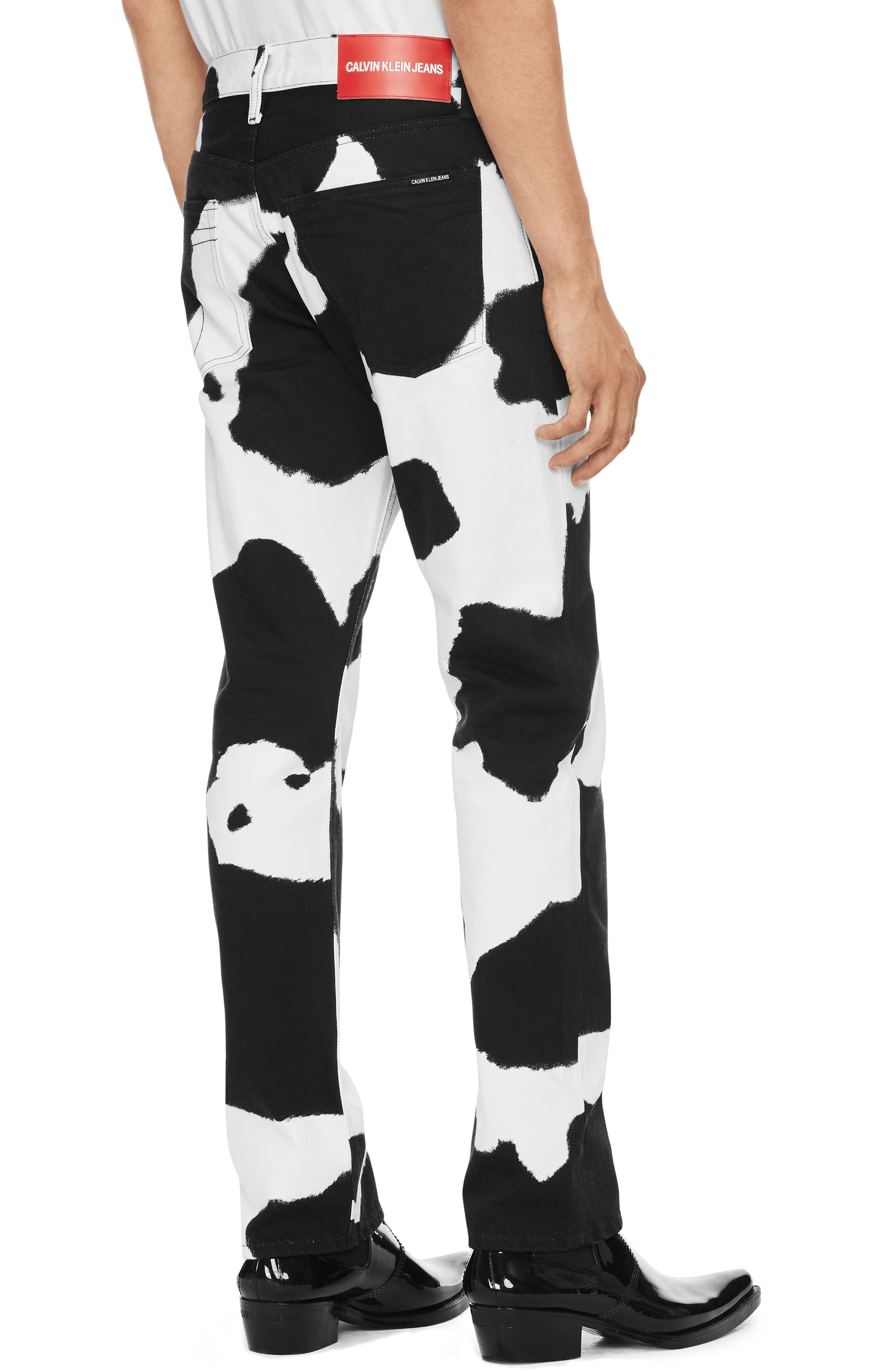 Cow Print Straight Leg Jeans,                             Alternate thumbnail 2, color,                             COW PRINT
