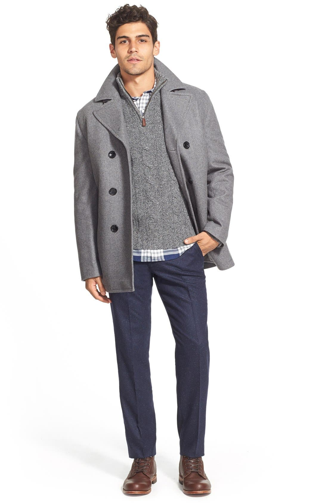 Wool Blend Double Breasted Peacoat,                             Alternate thumbnail 102, color,