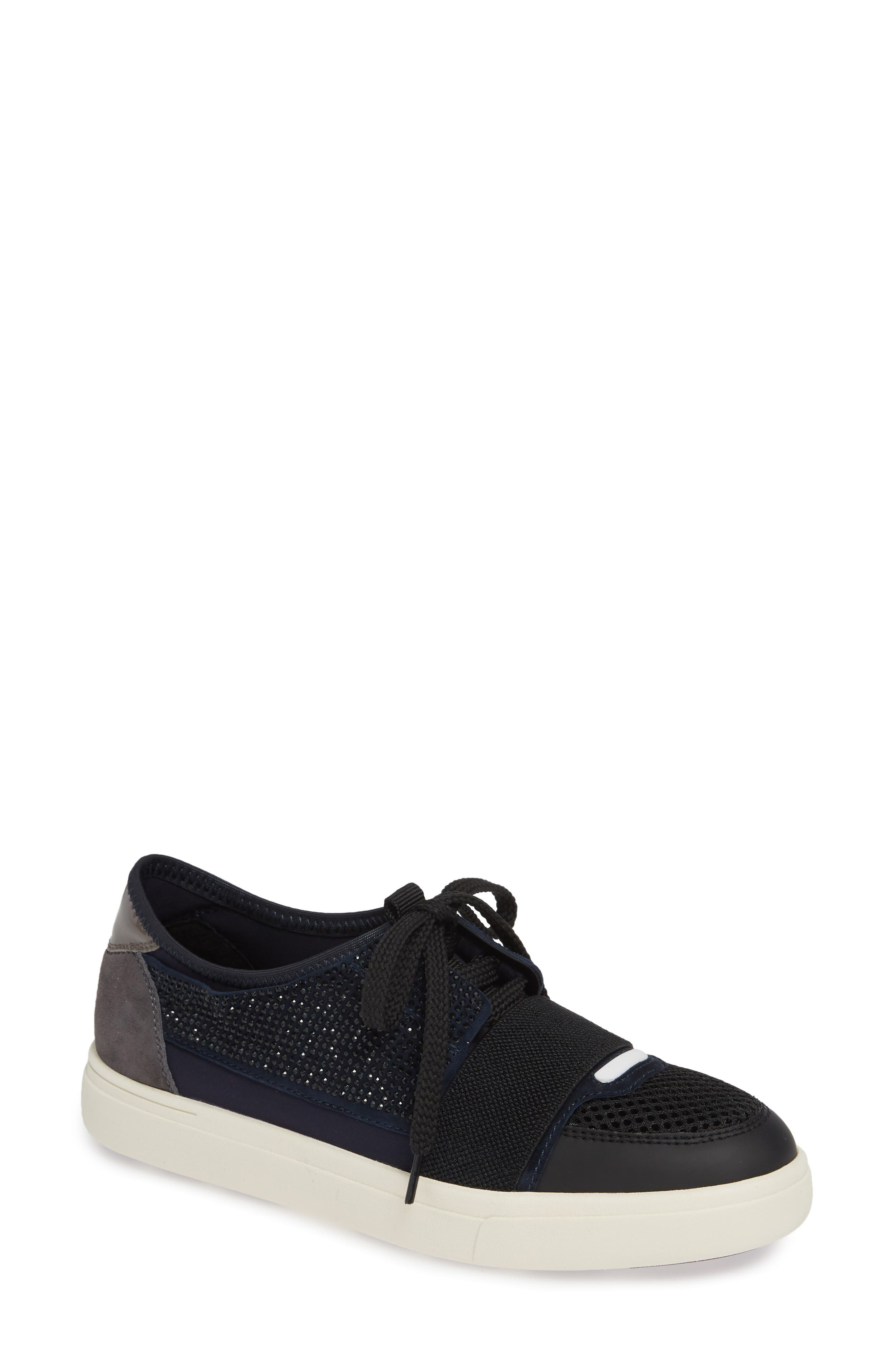 Onella Lace-Up Sneaker,                         Main,                         color, BLACK/ NAVY/ GREY MULTI