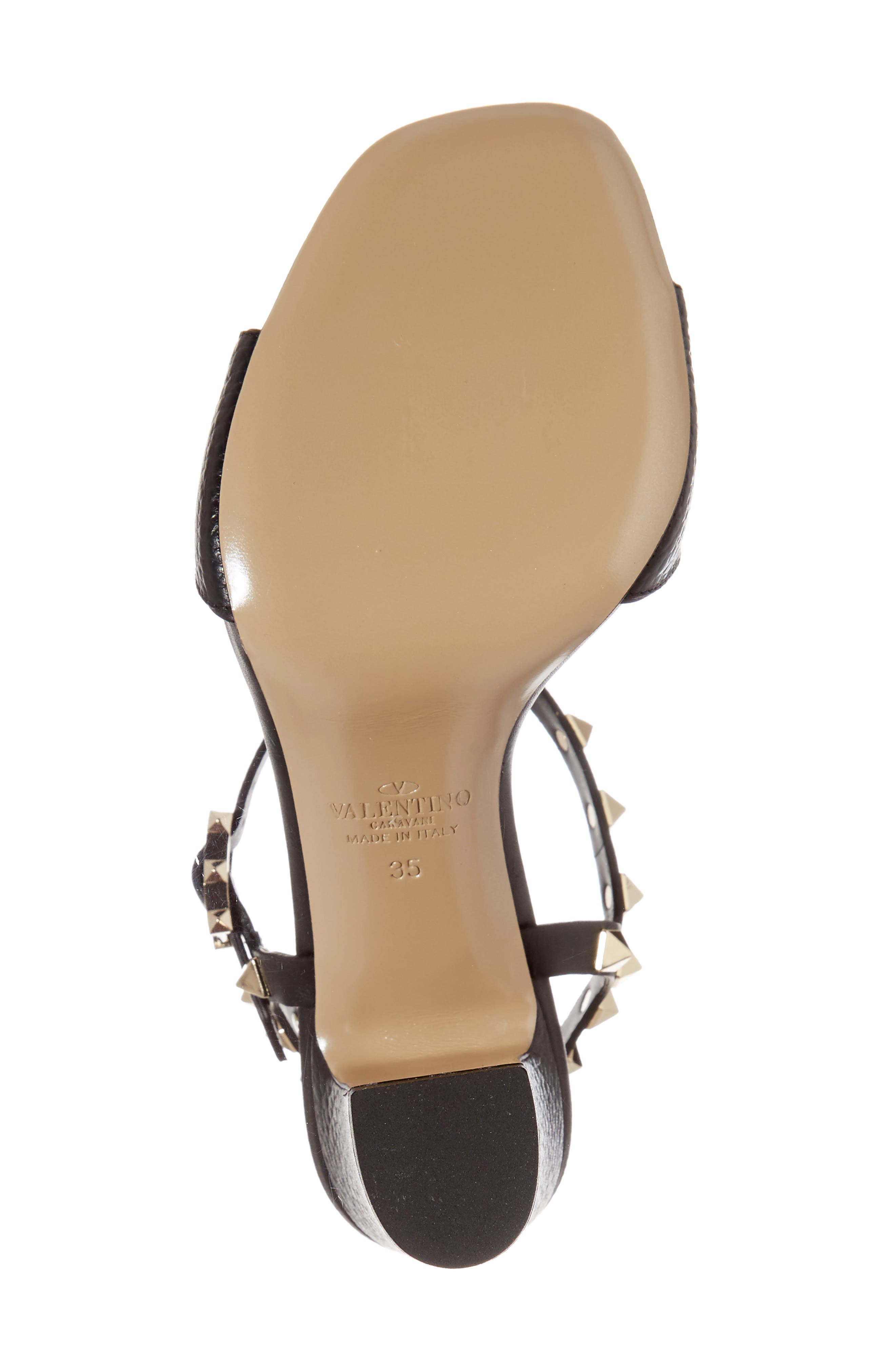 Rockstud T-Strap Sandal,                             Alternate thumbnail 6, color,                             BLACK LEATHER