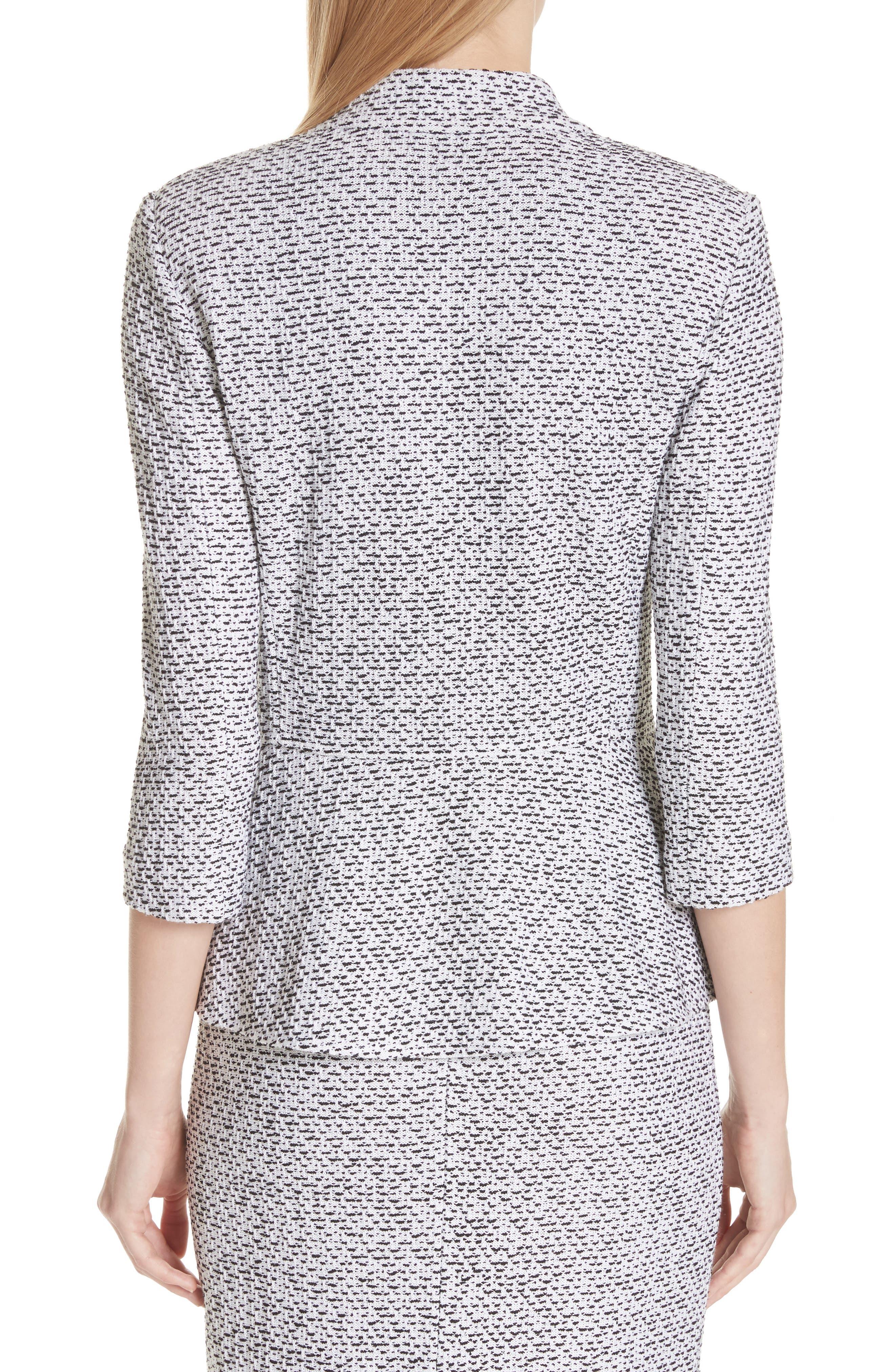 Olivia Bouclé Knit Jacket,                             Alternate thumbnail 2, color,                             WHITE/ CAVIAR