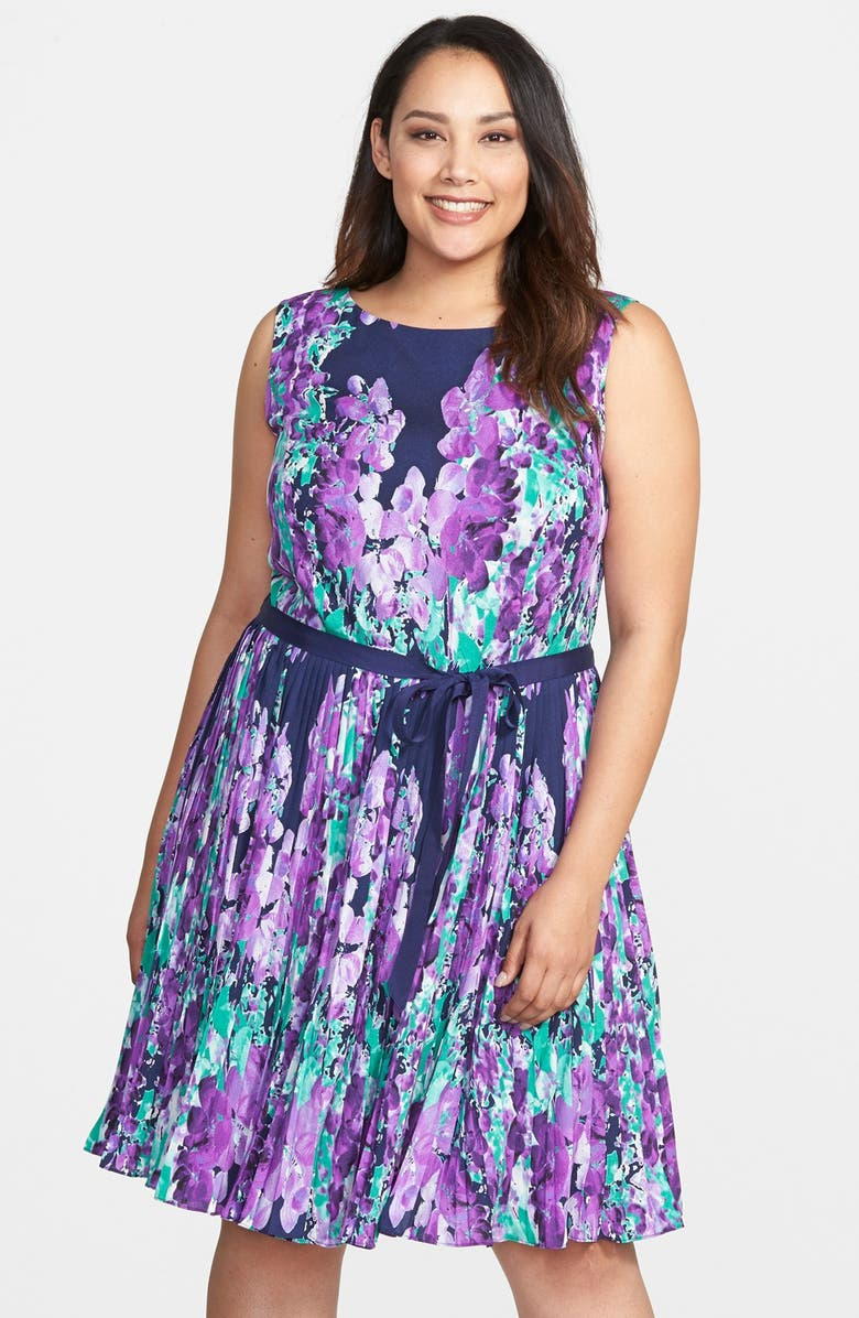 a8b62813b3aef Adrianna Papell Placed Floral Print Fit   Flare Dress (Plus Size ...