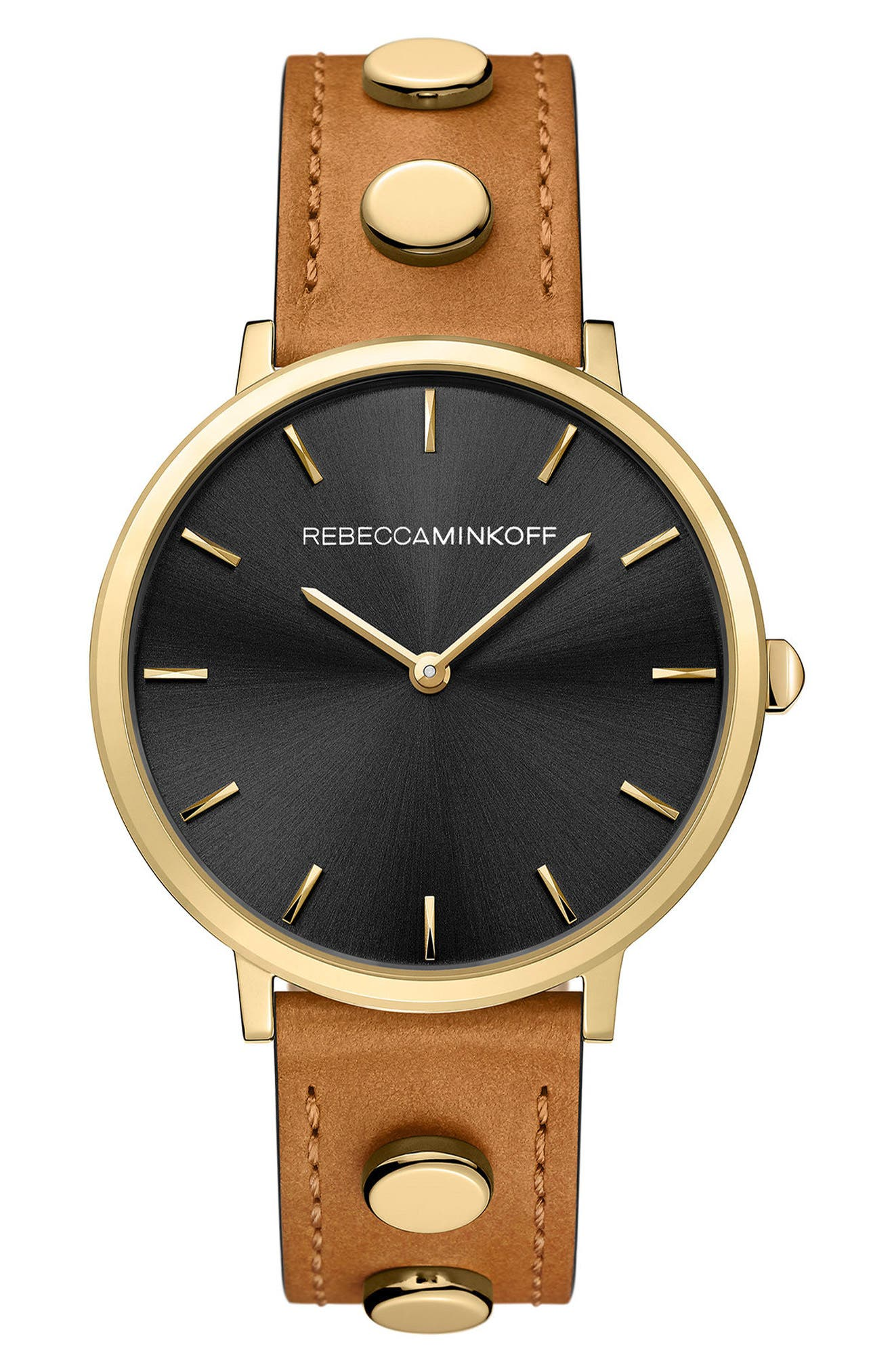 Major Stud Leather Strap Watch, 35mm,                         Main,                         color, BROWN/ BLACK/ GOLD
