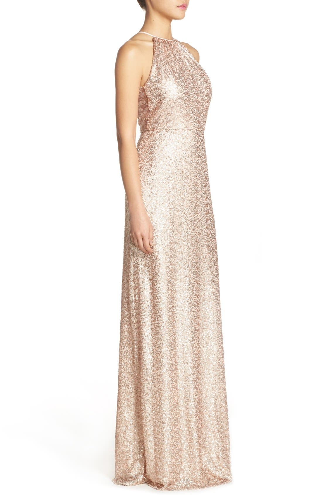 'Chandler' Sequin Tulle Halter Style Gown,                             Alternate thumbnail 12, color,
