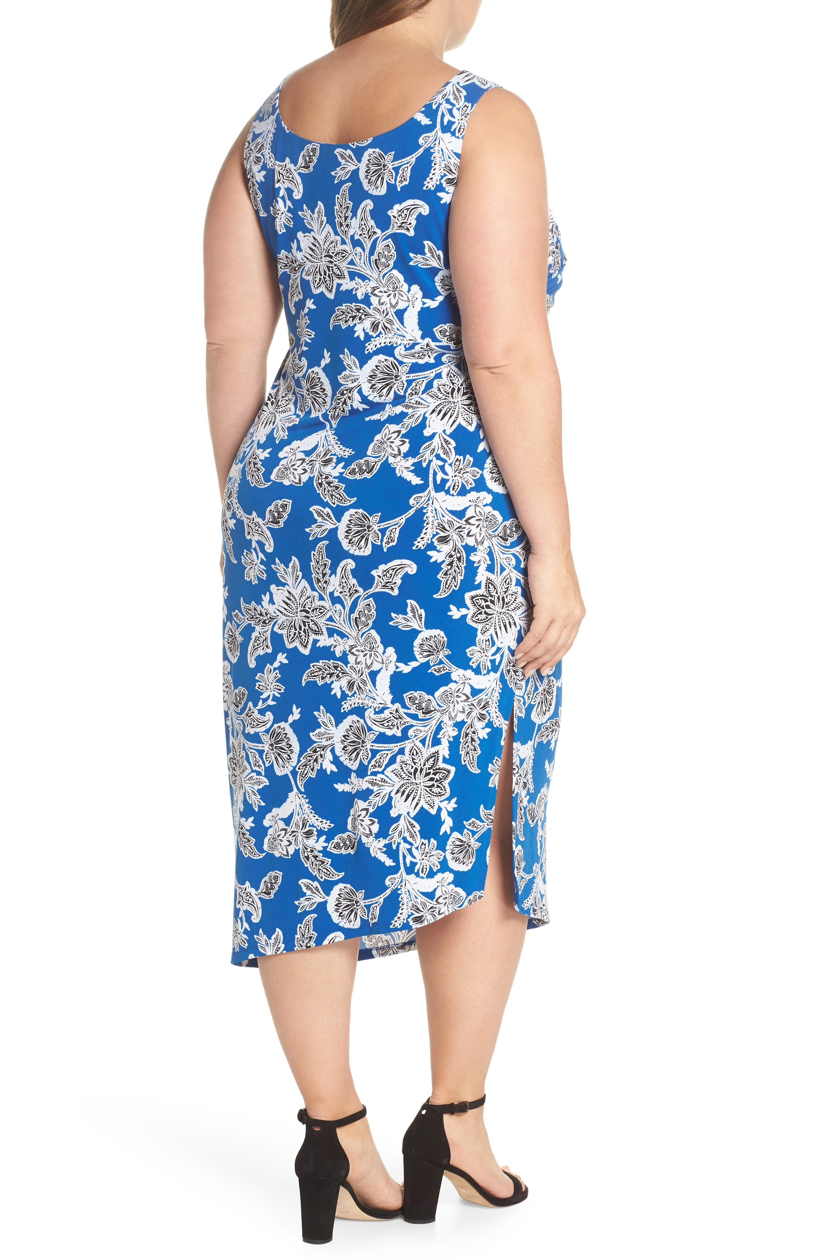 Woodblock Floral Side Ruched Body-Con Dress,                             Alternate thumbnail 2, color,                             AMALFI