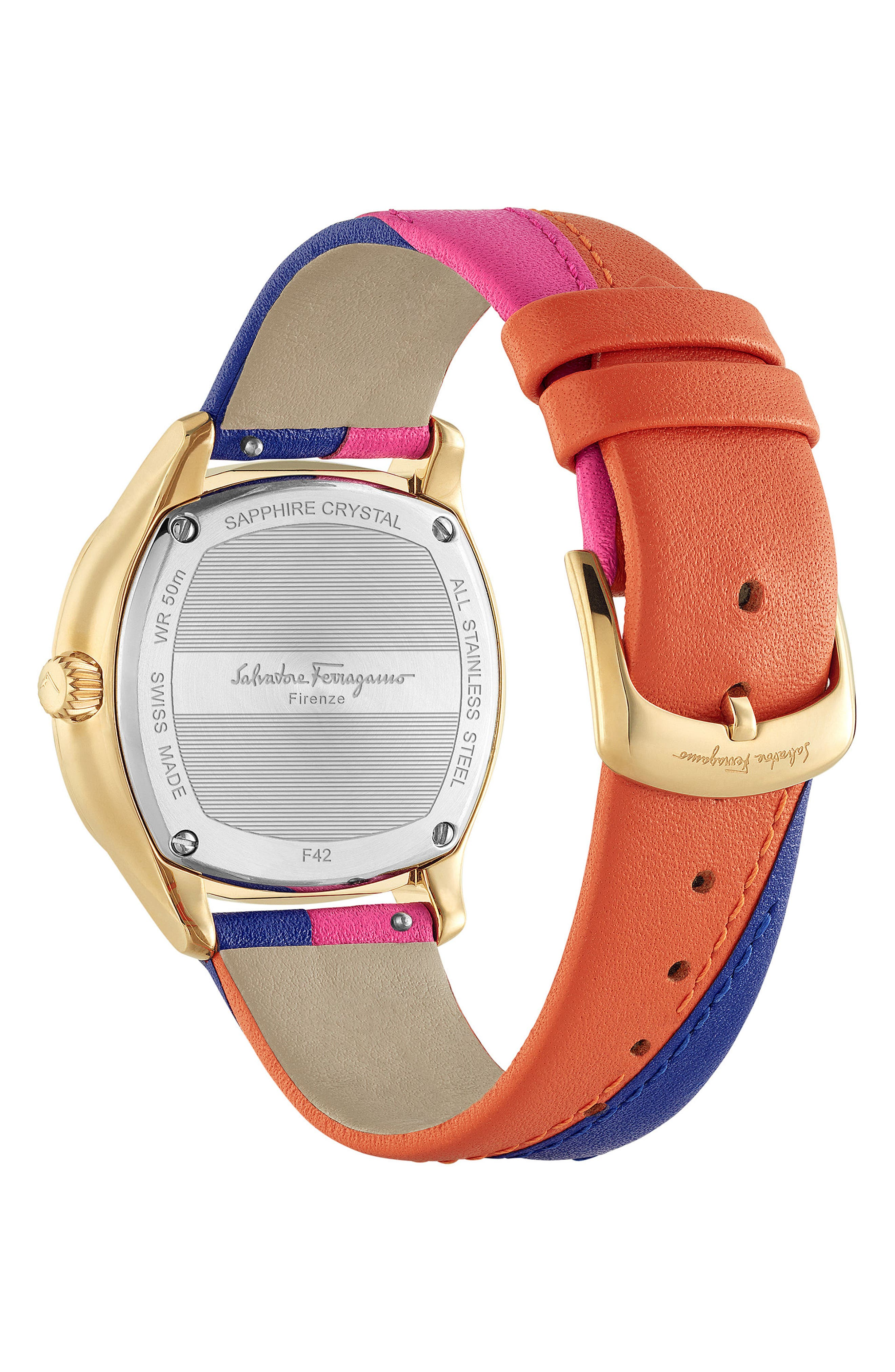 Time Square Leather Strap Watch, 36mm,                             Alternate thumbnail 2, color,                             MULTI/ BLACK/ GOLD