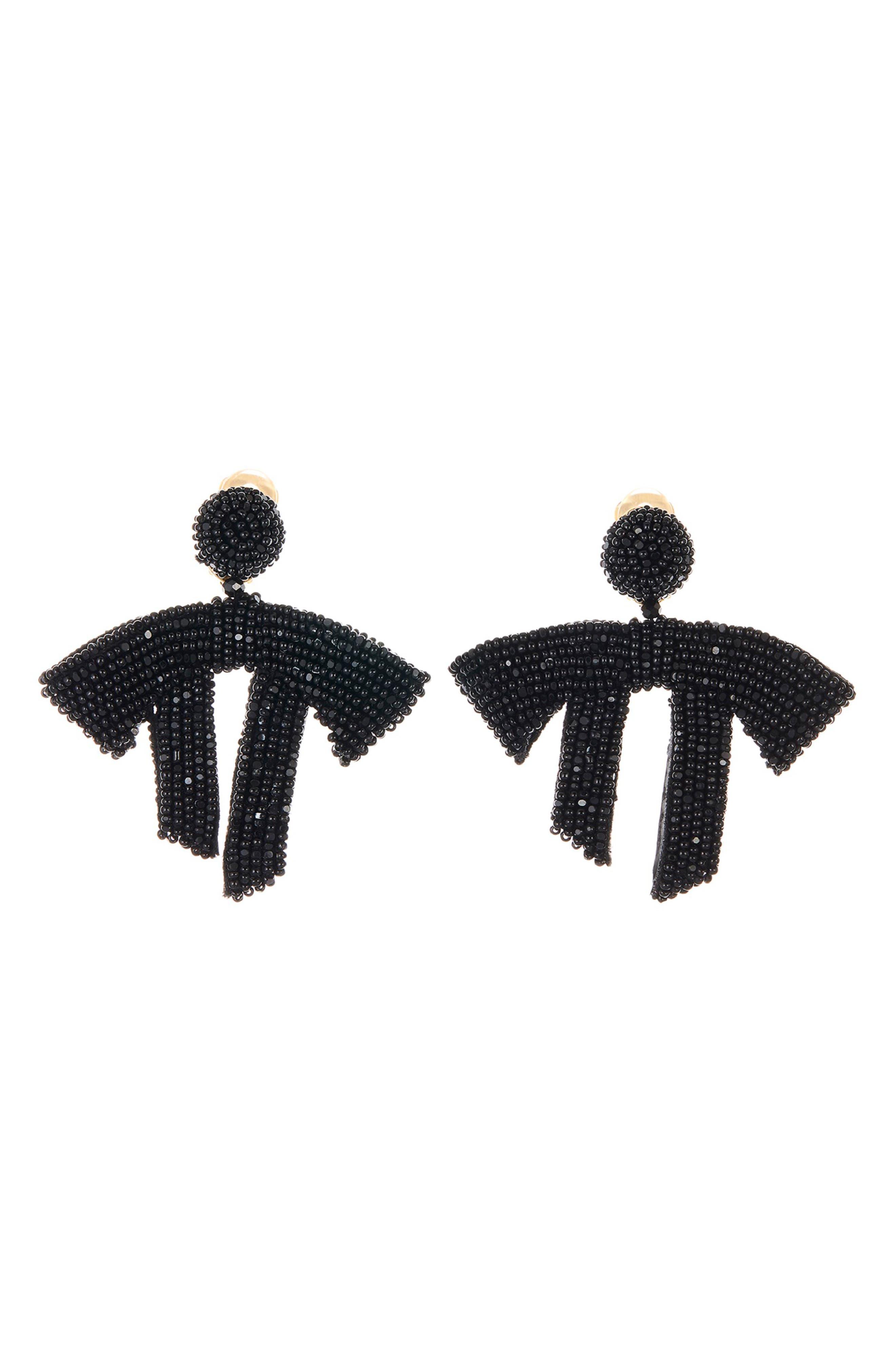 Drape Beaded Clip-On Earrings,                         Main,                         color, BLACK