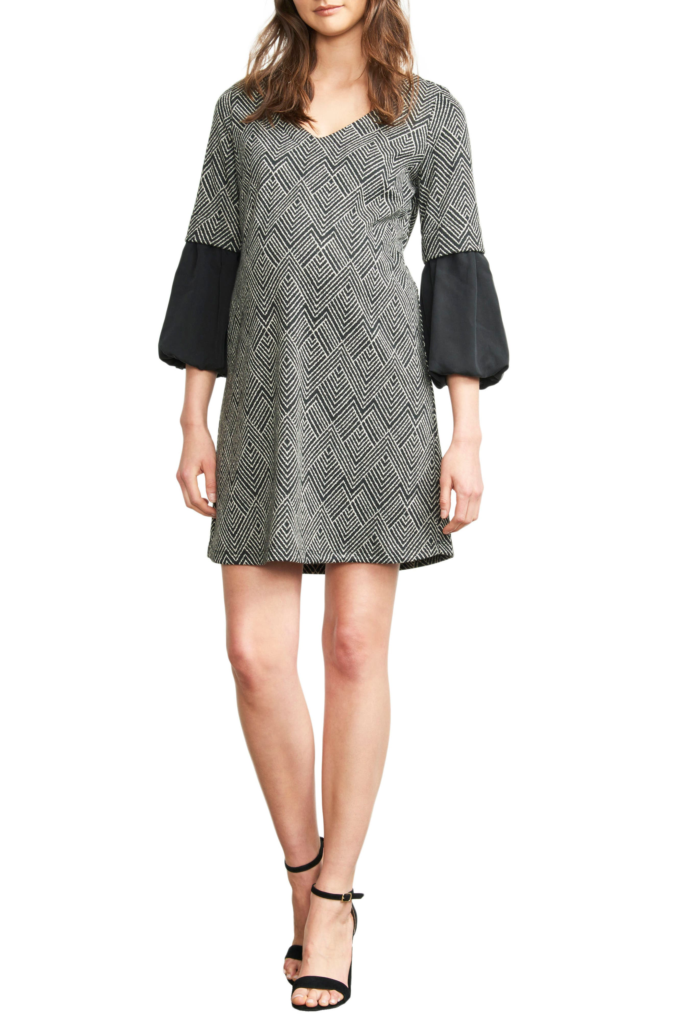 Print Bell Sleeve Maternity Dress,                             Main thumbnail 1, color,                             BLACK/ IVORY DIAMOND