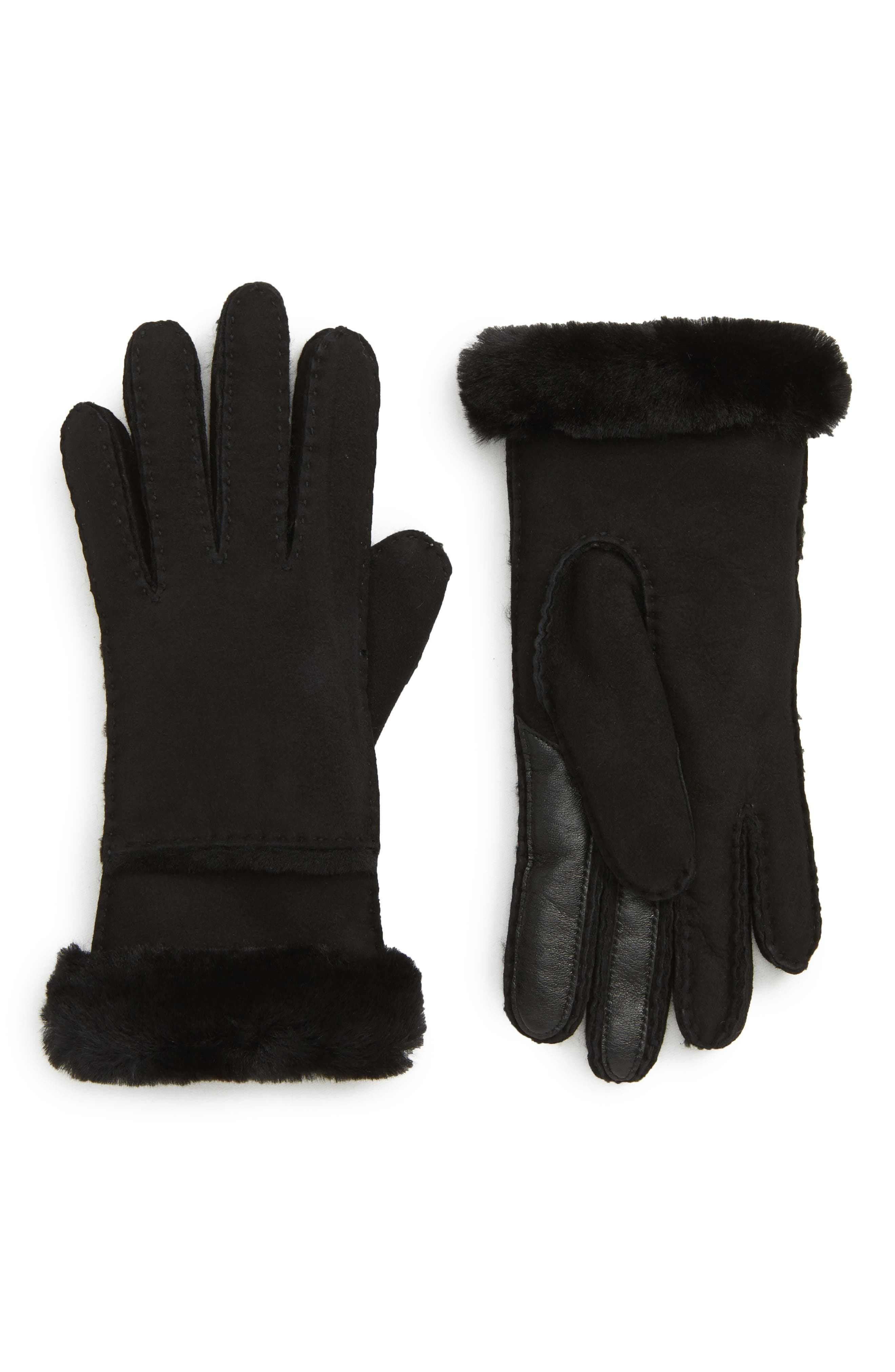 UGG<sup>®</sup> Seamed Touchscreen Compatible Gloves with Genuine Shearling Trim,                         Main,                         color, BLACK