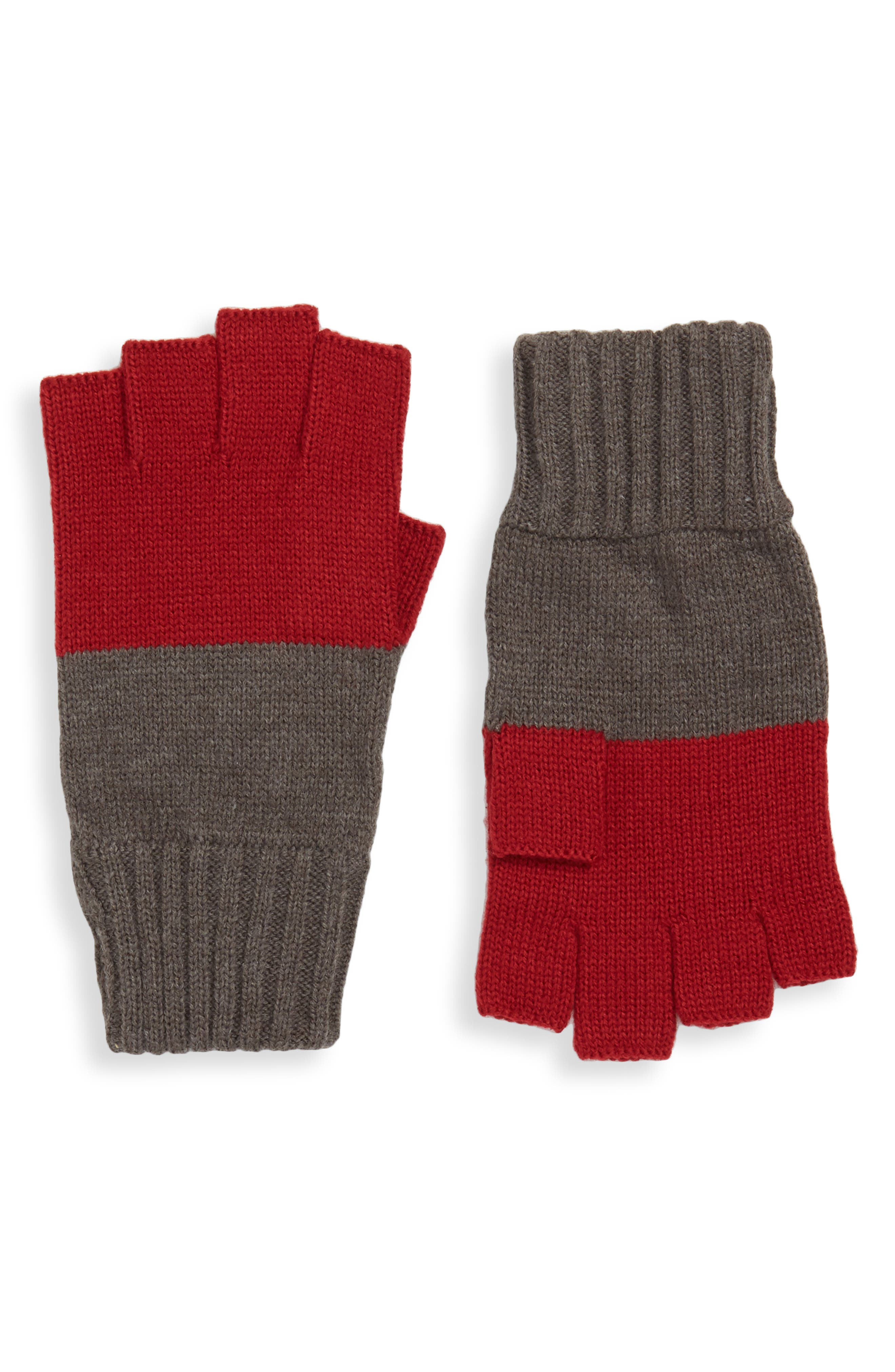 THE RAIL,                             Colorblock Fingerless Gloves,                             Main thumbnail 1, color,                             021