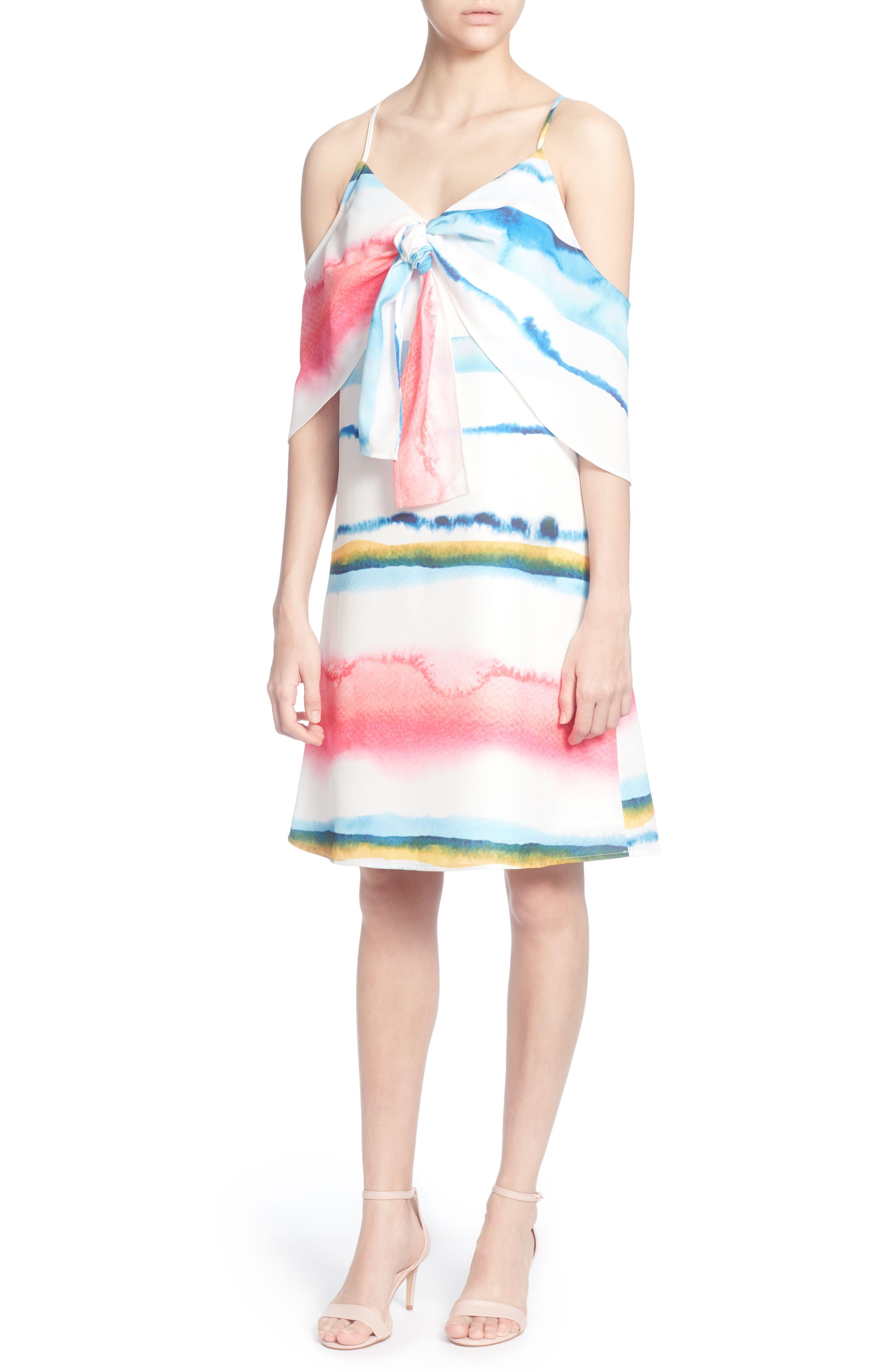 Eden Cold Shoulder Dress,                             Alternate thumbnail 2, color,                             WATERCOLOR STRIPE