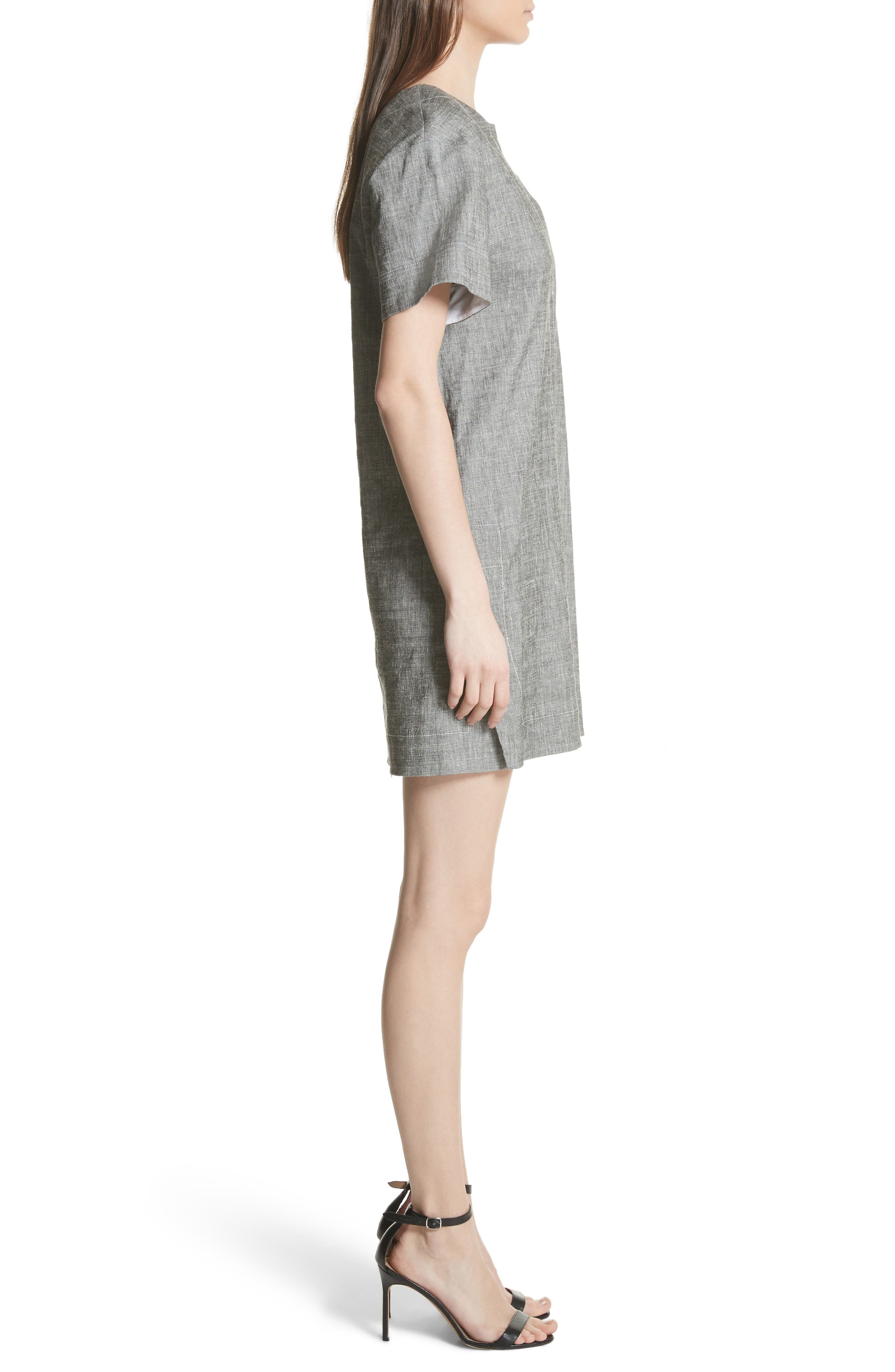 Split Neck Linen Blend Shift Dress,                             Alternate thumbnail 3, color,                             010