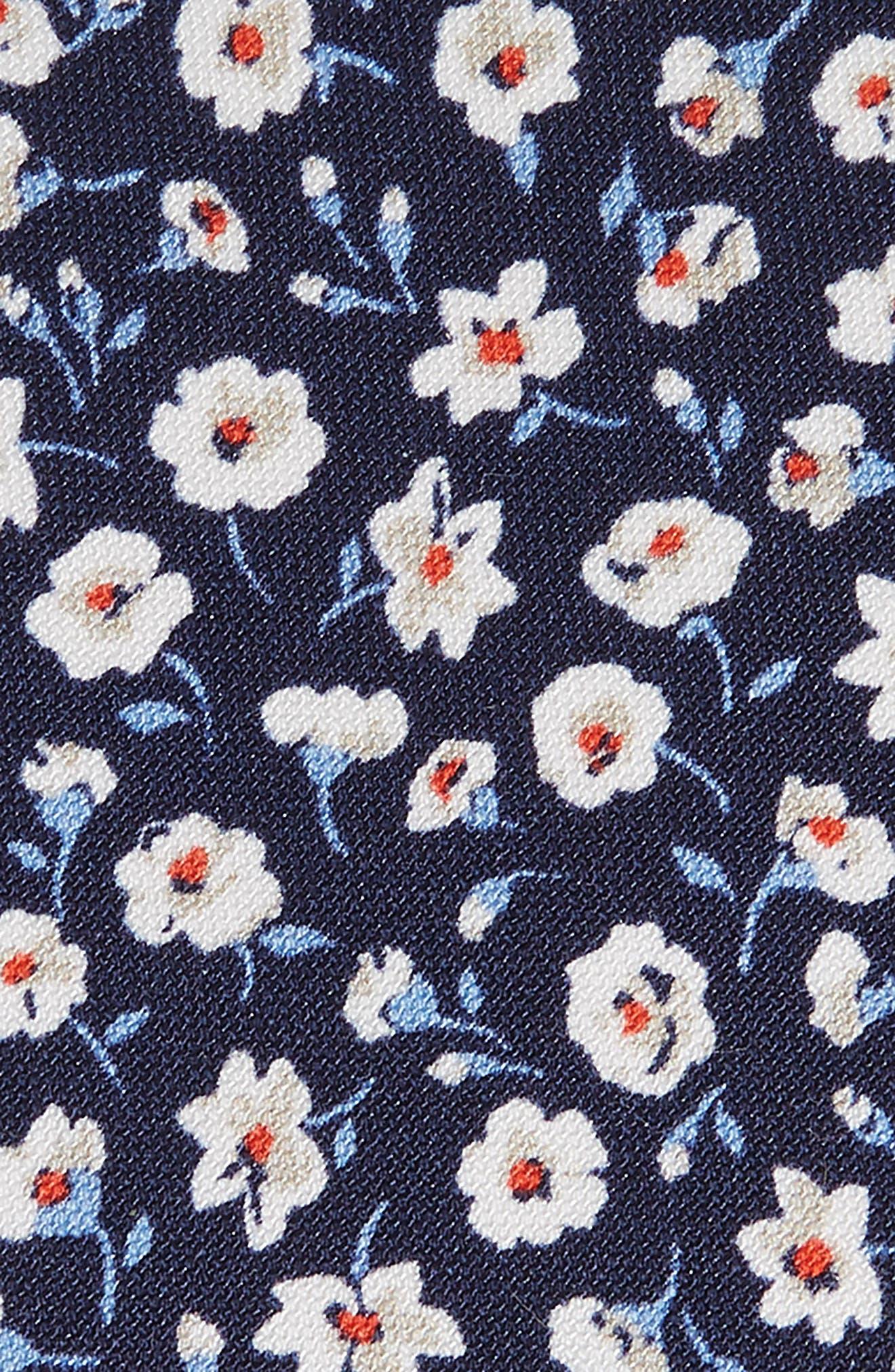 Floral Cotton & Silk Tie,                             Alternate thumbnail 2, color,                             NAVY