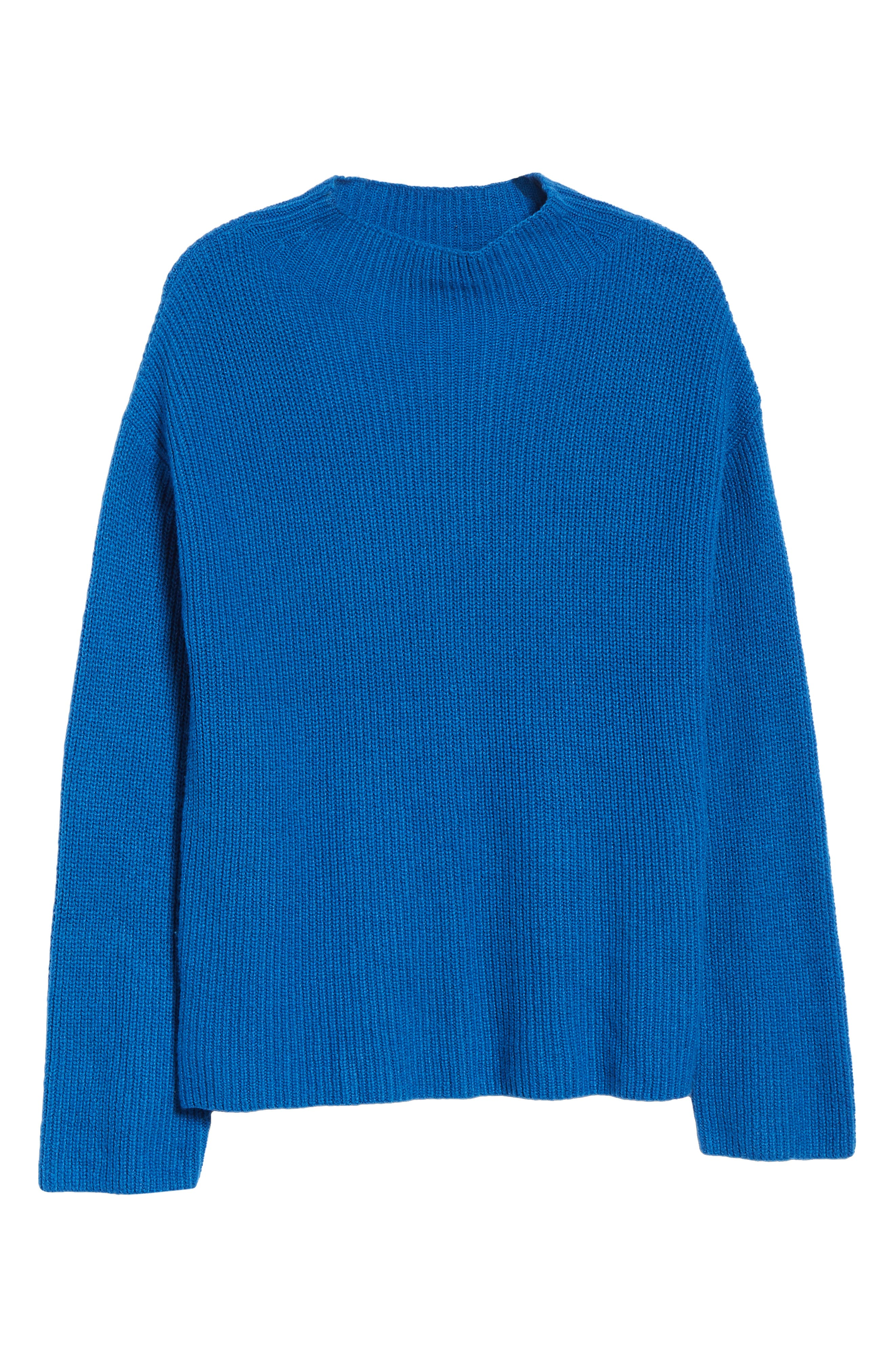 Ribbed Funnel Neck Sweater,                             Alternate thumbnail 6, color,                             BLUE CLASSICS