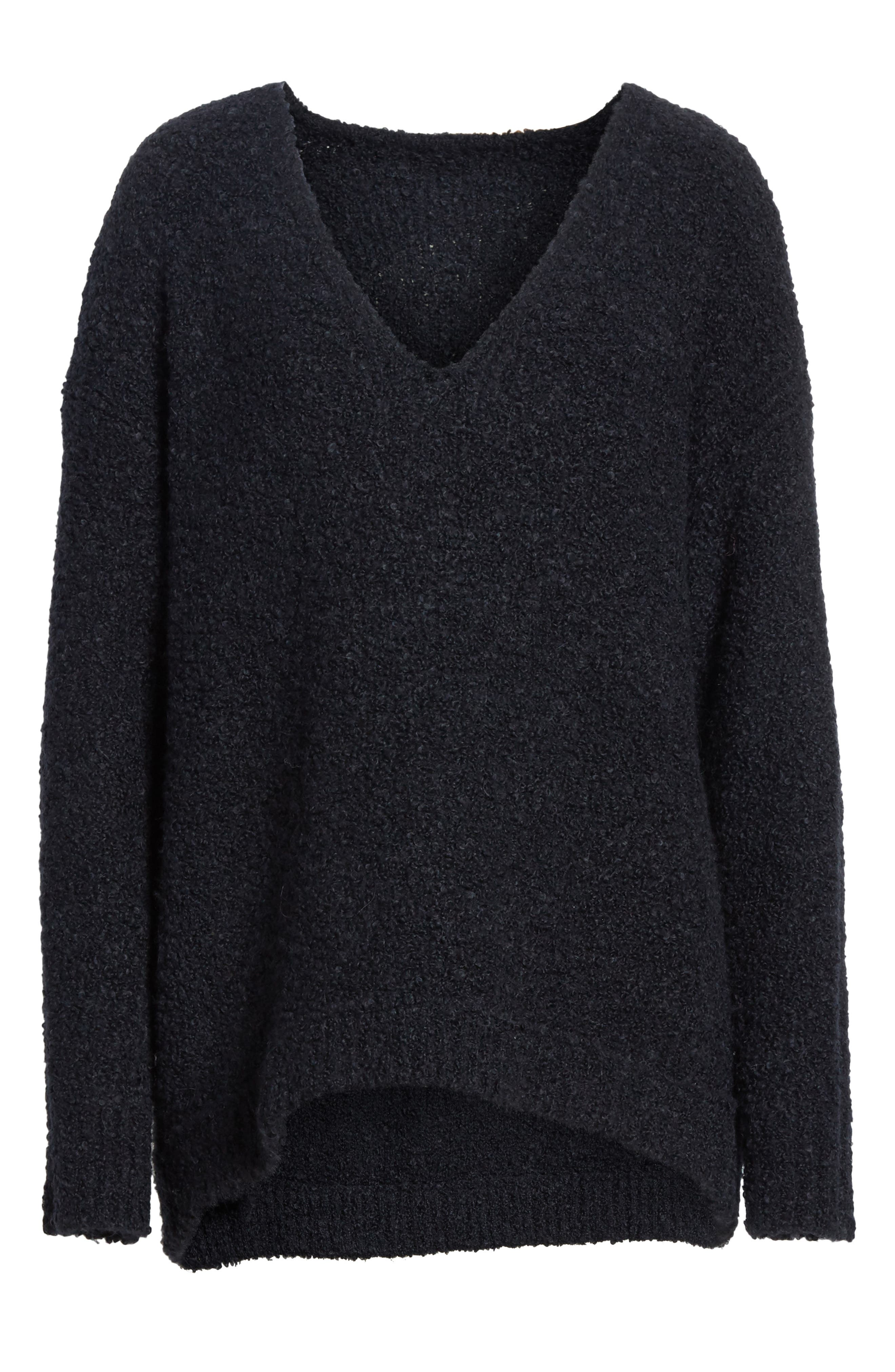 Lofty V-Neck Sweater,                             Alternate thumbnail 6, color,                             001